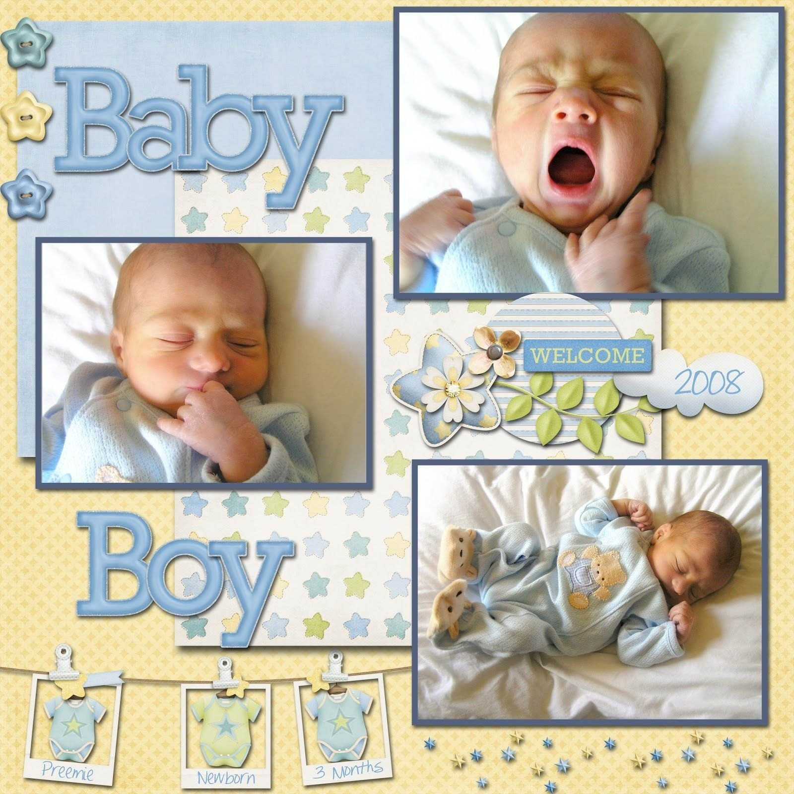 scrapbook layout baby | cubbie was three days early and only weighed