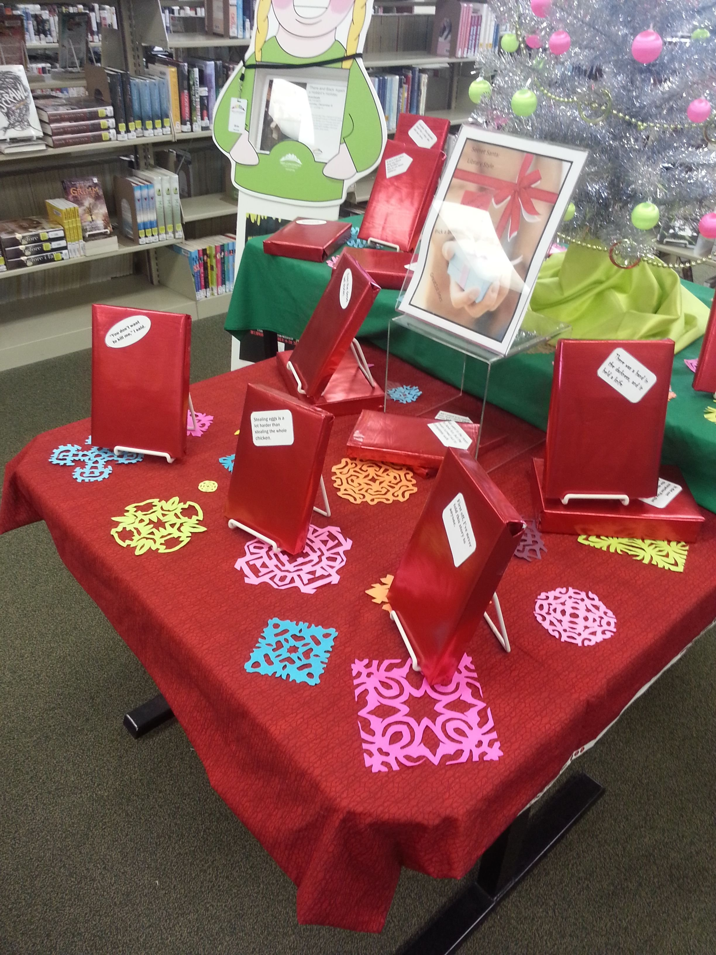 10 Fantastic Secret Santa Ideas For School secret santa first lines display wrapped books leaving just 2020