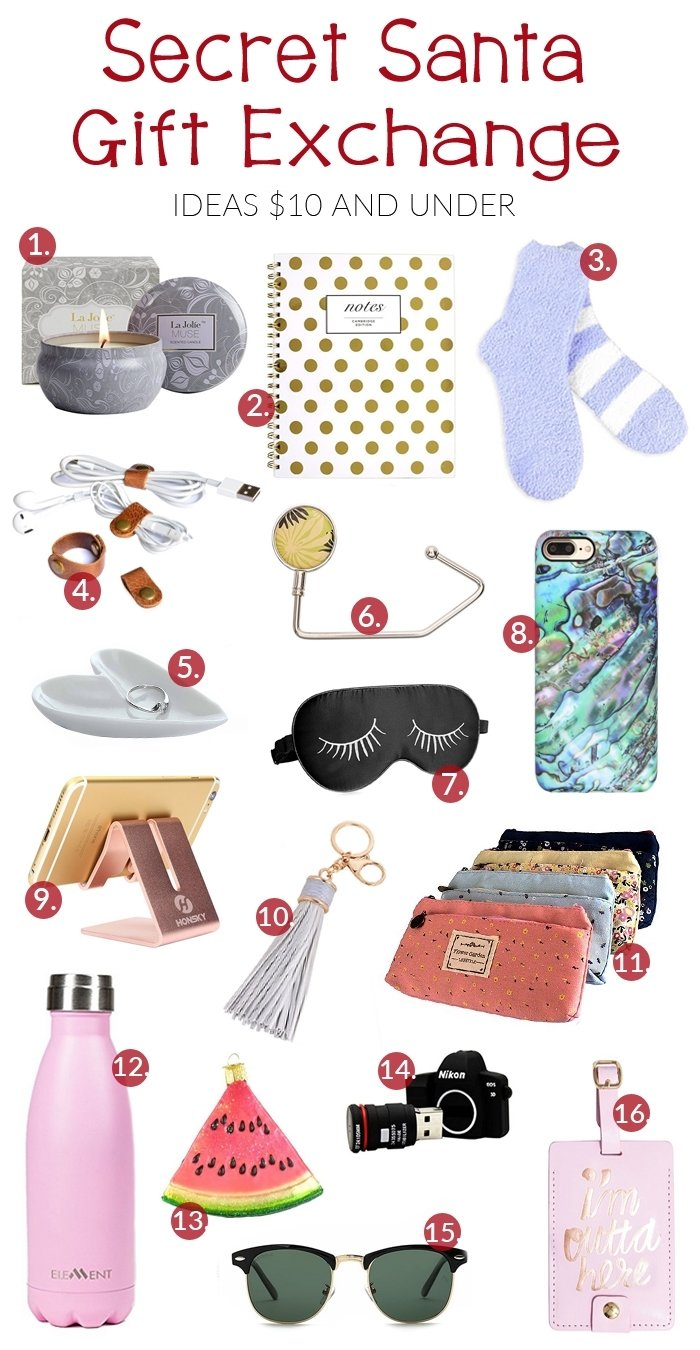 10 Trendy Ideas For Secret Santa Gifts secret santa gift exchange ideas 10 and under the shirley journey 4
