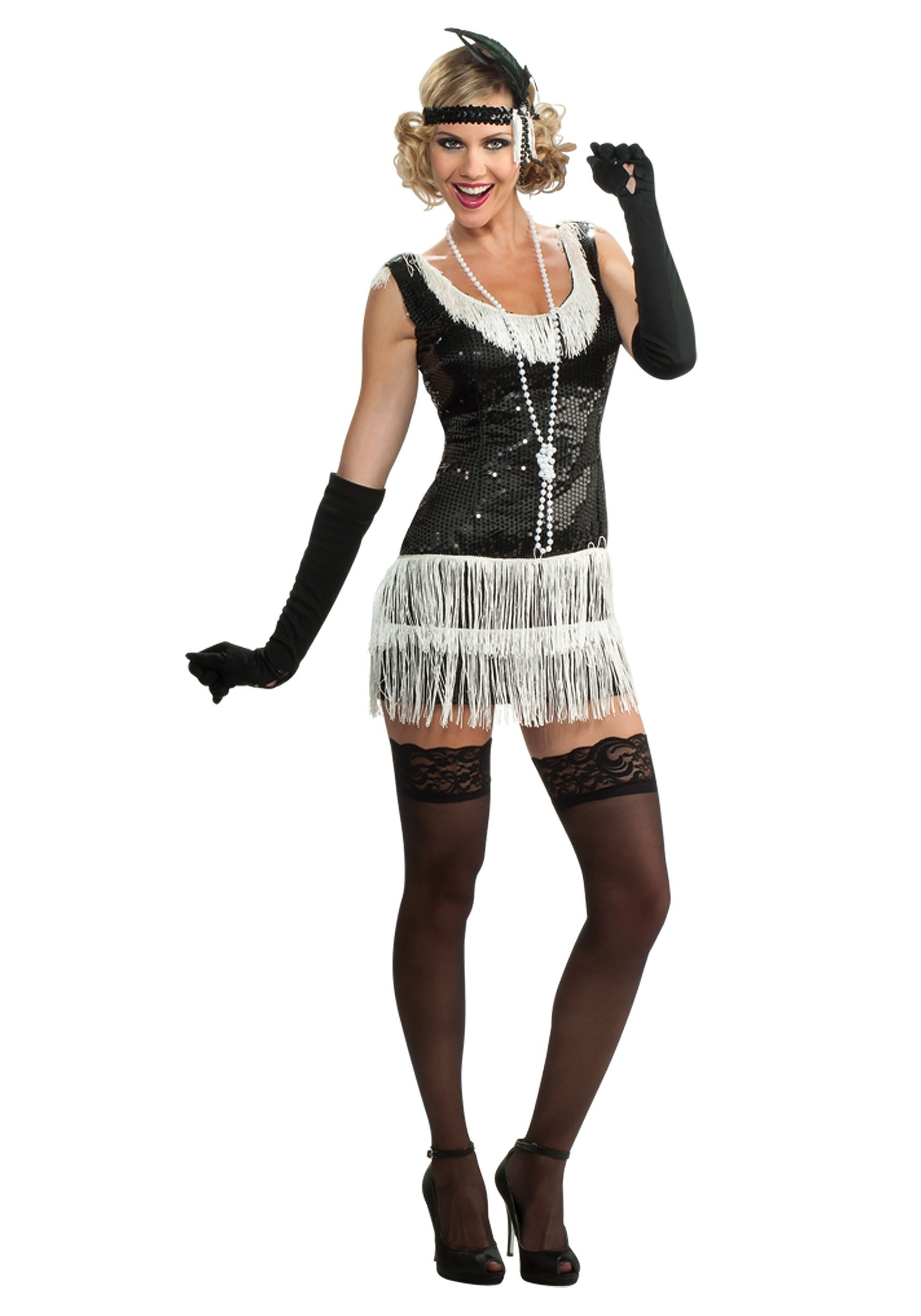 10 Best Black And White Costume Ideas sequined black and white flapper costume sexy retro costume ideas