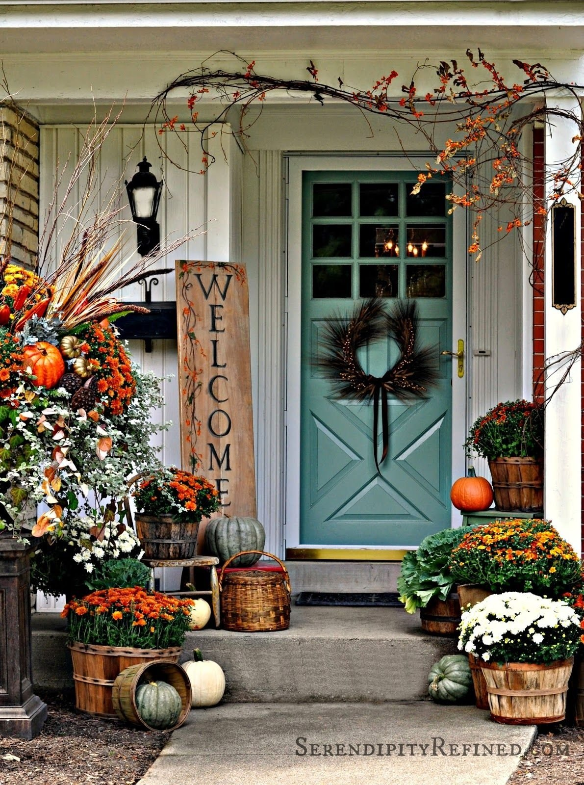 10 Lovely Front Door Fall Decorating Ideas serendipity refined fall harvest porch decor with reclaimed wood 3