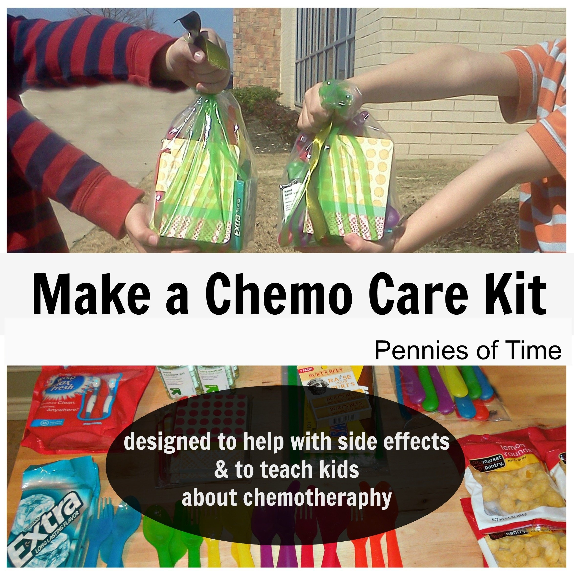 10 Lovable Care Package Ideas For Cancer Patients service project for kids chemo care kit for kids pennies of time