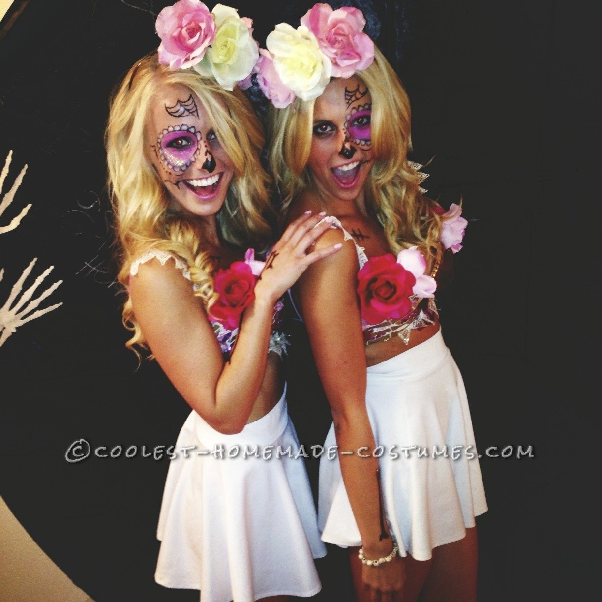 10 Great Halloween Costume Ideas For Blondes sexy sugar skulls cross bone blondes costumes homemade costumes 2020