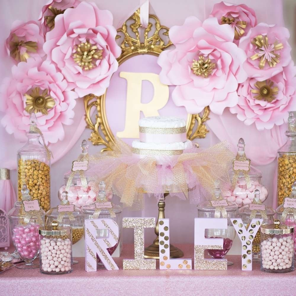 10 Pretty Ideas For A Baby Shower shimmering pink and gold baby shower baby shower ideas themes