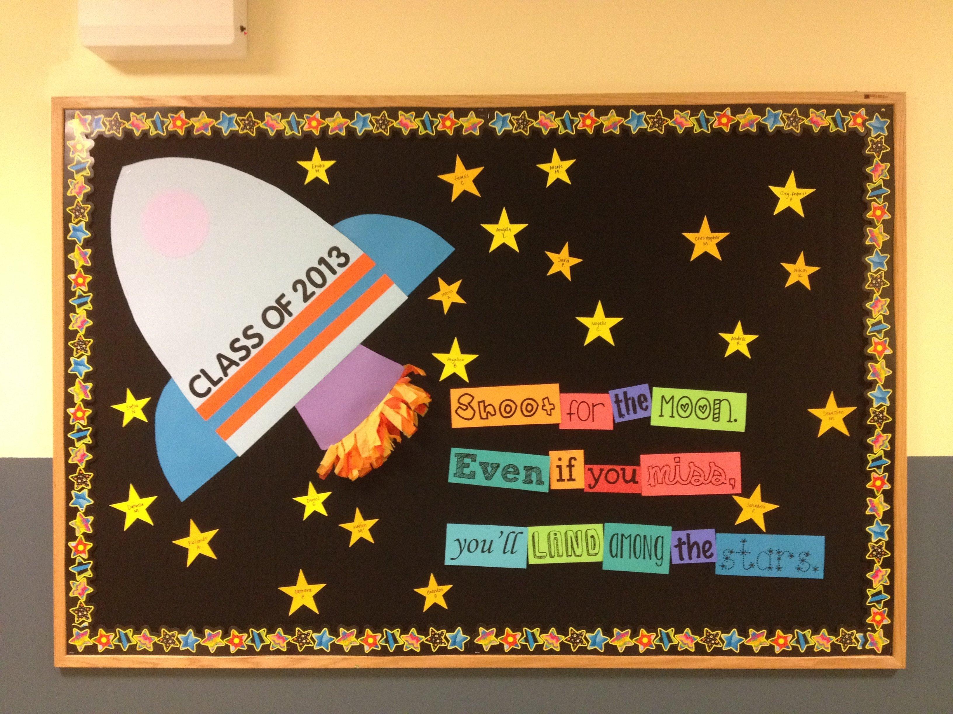 10 Elegant Bulletin Board Ideas For Back To School shoot for the moon bulletin board 5th grade back to school 1 2021