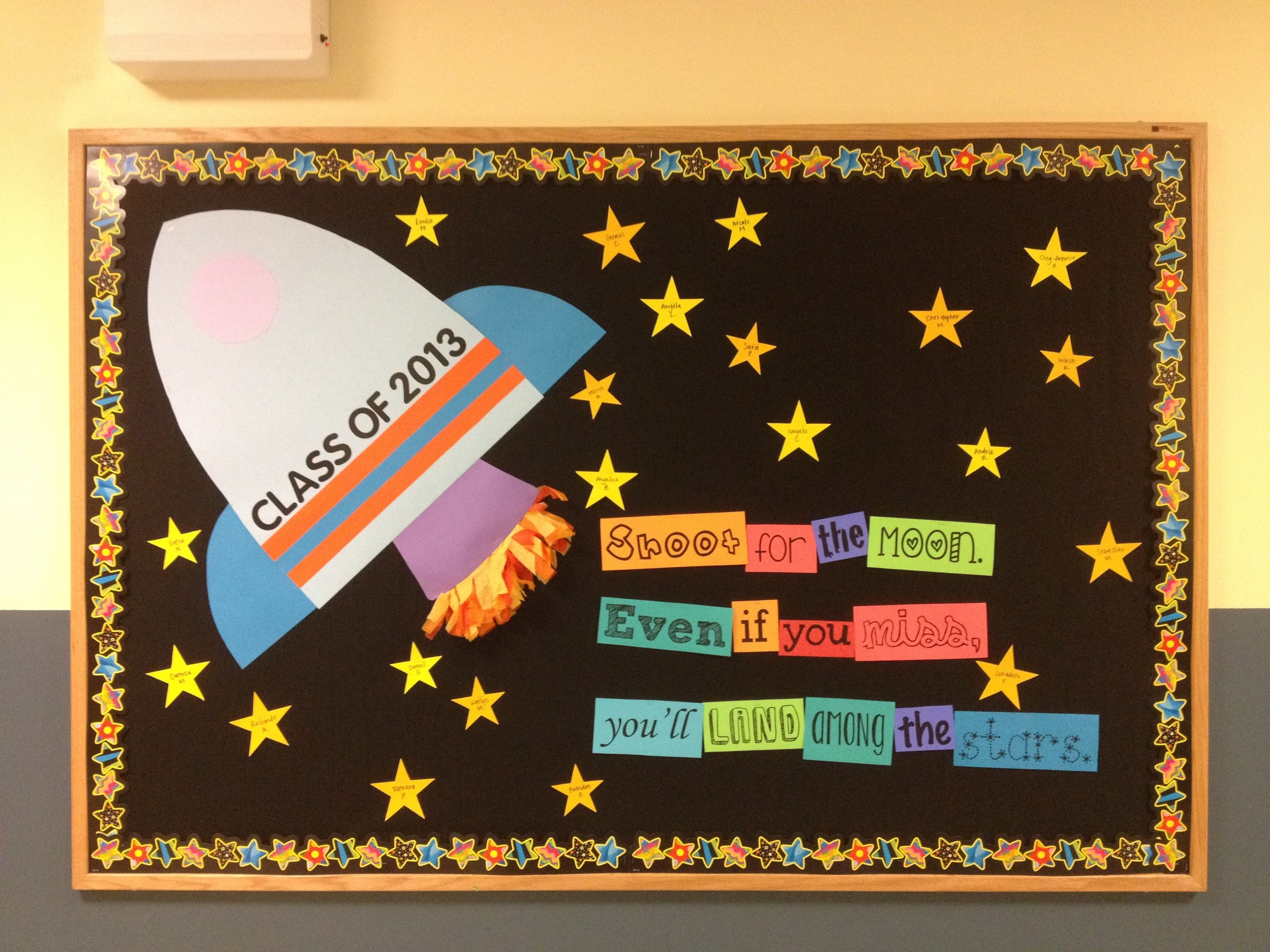 shoot for the moon bulletin board, 5th grade back to school