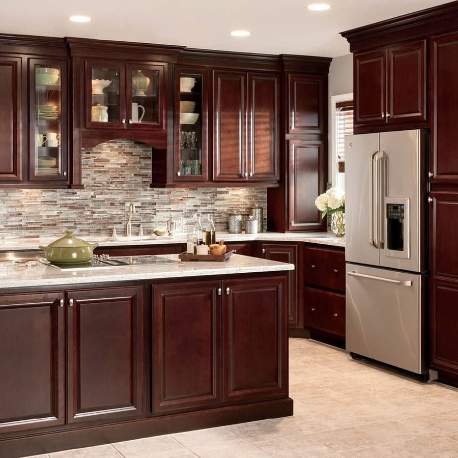 10 Attractive Backsplash Ideas For Cherry Cabinets shop shenandoah bluemont 13 in x 14 5 in bordeaux cherry square 2021