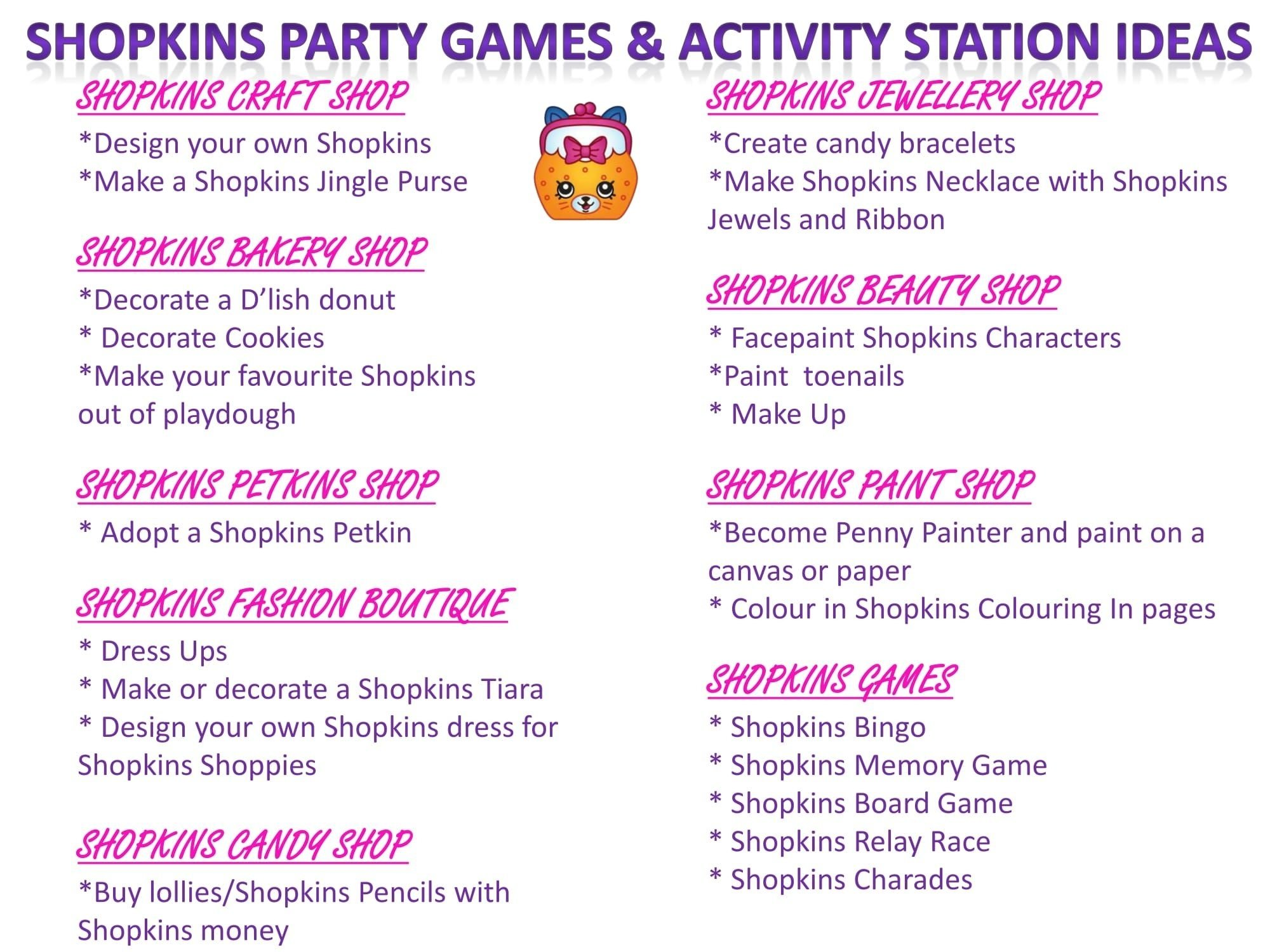 shopkins party games & activity station ideas free printable at www
