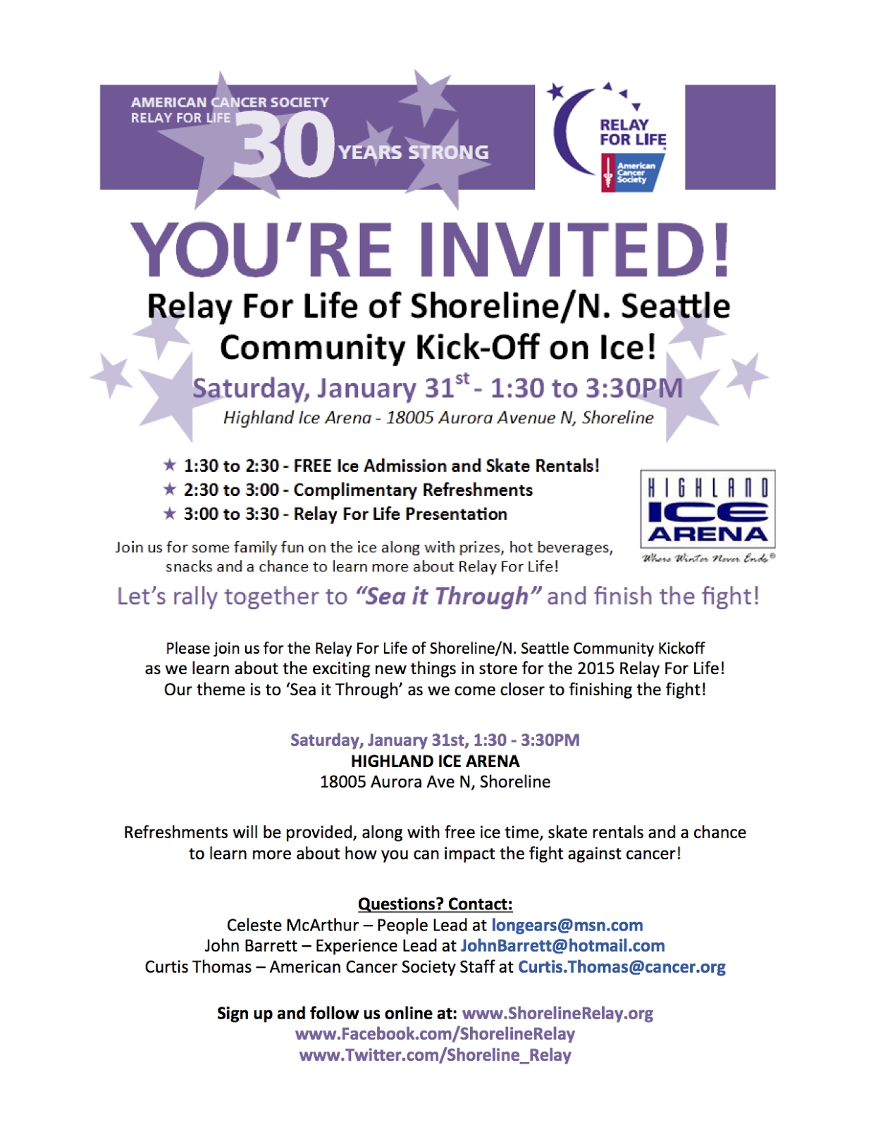 10 Unique Relay Life Event Theme Ideas shoreline area news relay for life kick off at highland ice area jan 31 1 2020