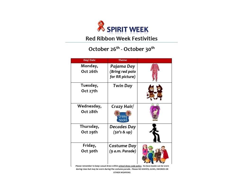 10 Lovable Red Ribbon Week Ideas For Elementary School sierra vista elementary and middle school spirit week is 10 26 10 5 2020