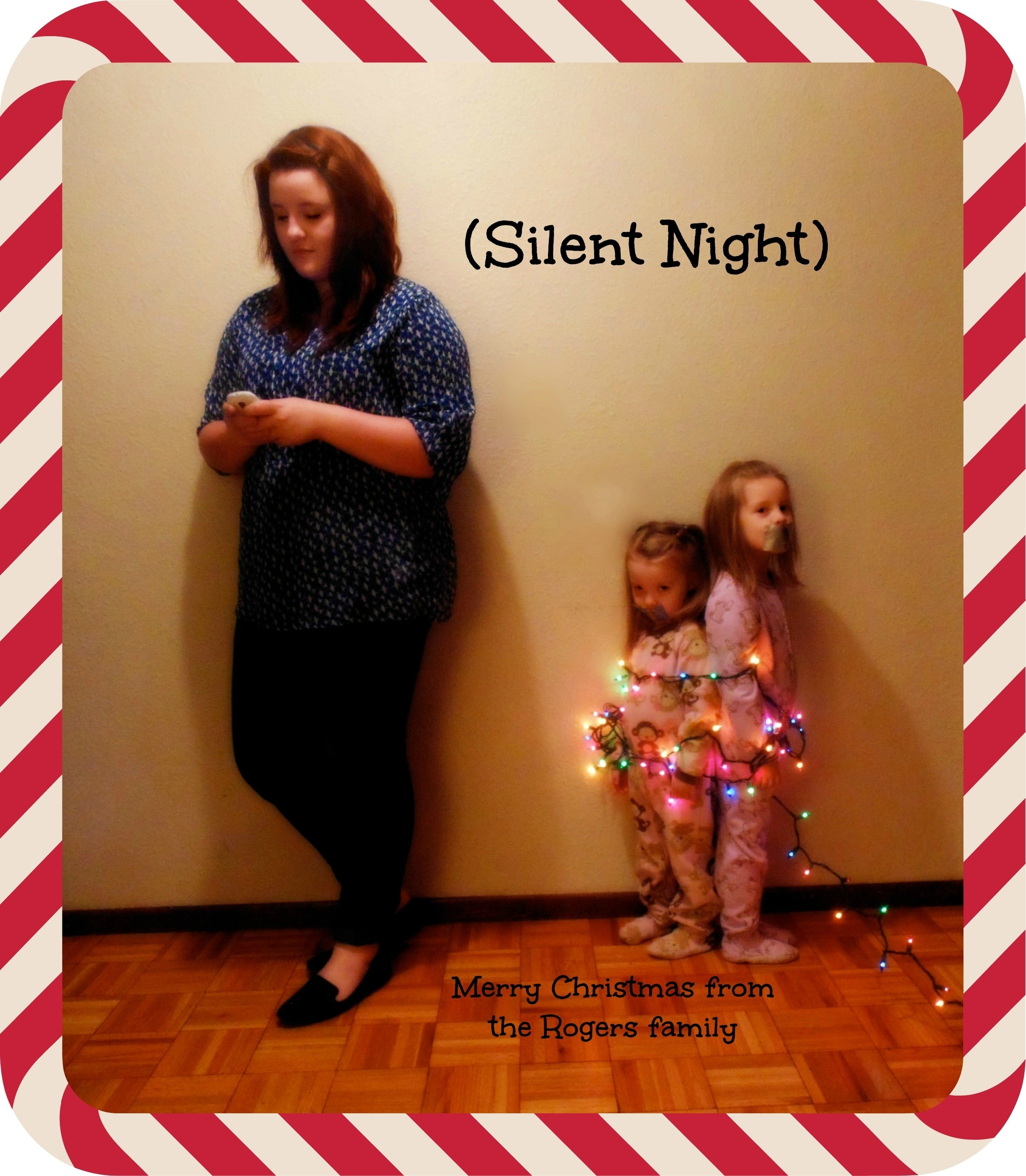 10 Fantastic Kids Christmas Card Photo Ideas silent night christmas card texting teen younger siblings wrapped 2020