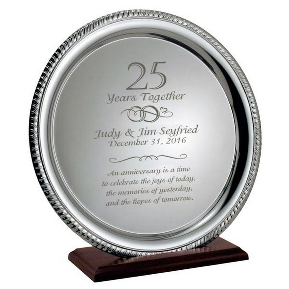 10 Gorgeous 25 Year Anniversary Gift Ideas silver 25th anniversary personalized plate on wood base 3 2020