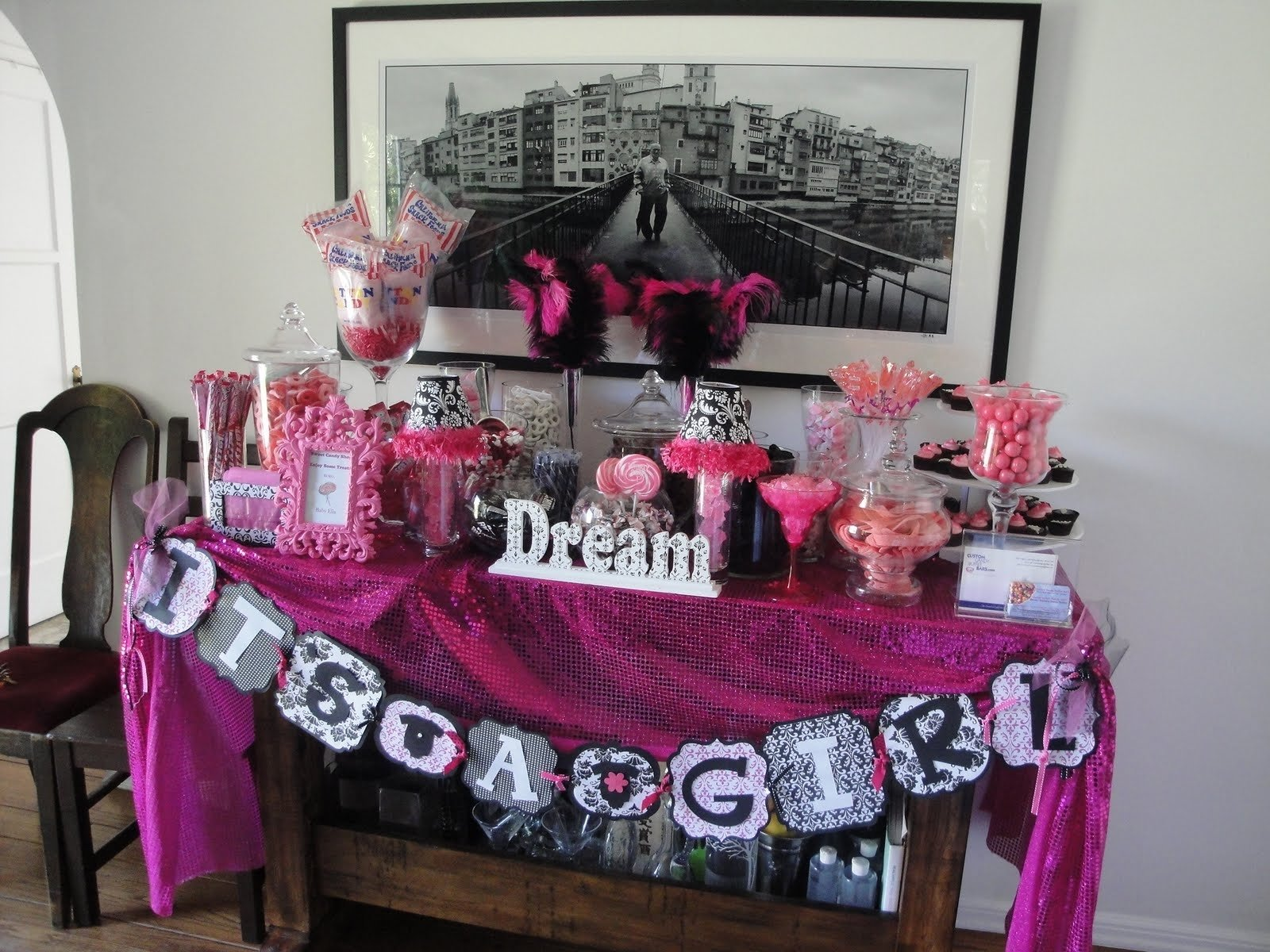 10 Perfect Pink And Black Baby Shower Ideas simple and cheap baby shower candy bar ideas baby shower ideas gallery 2021