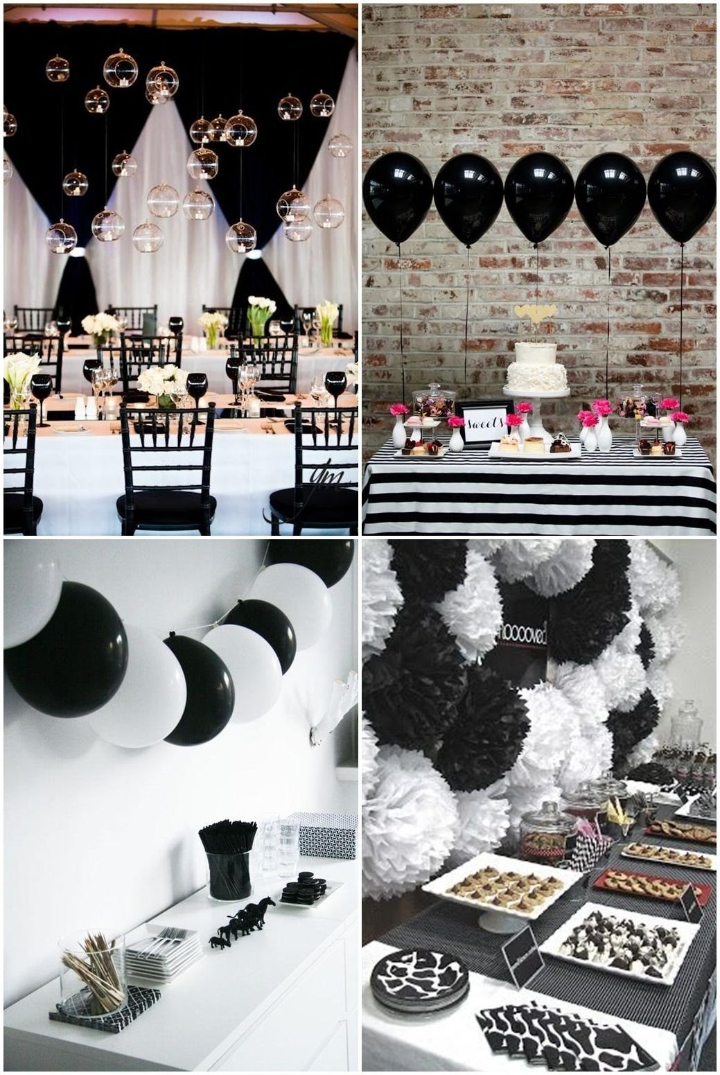 10 Awesome Black And White Centerpiece Ideas simple black and white party ideas pinteres 3 2021