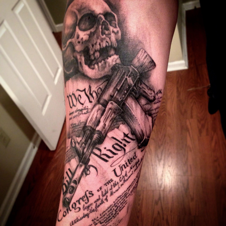 skull ak47 constitution 2nd amendment gun   tats   pinterest   guns