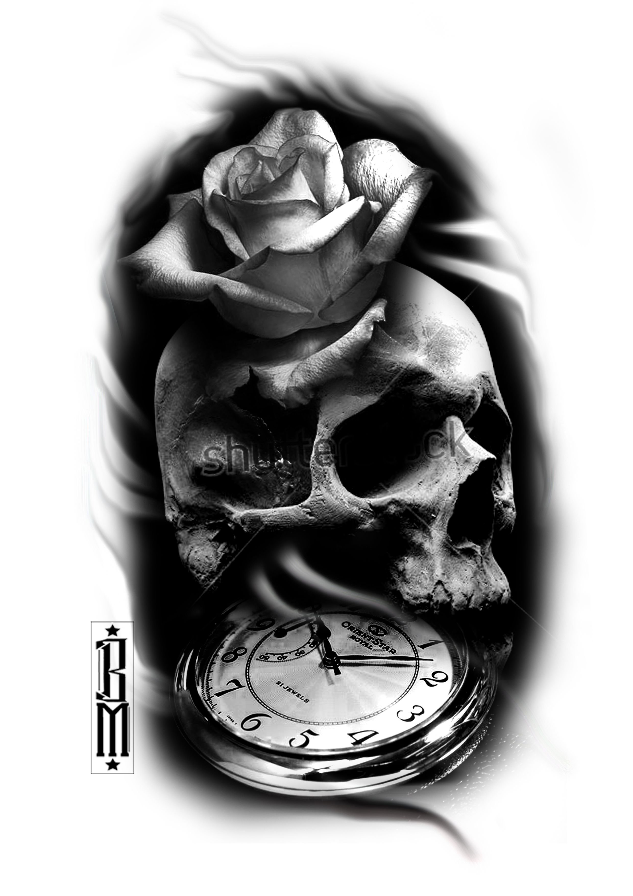 10 Most Recommended Black And Grey Tattoo Ideas skull rose clock black and grey tattoo sleeve ideas designs design