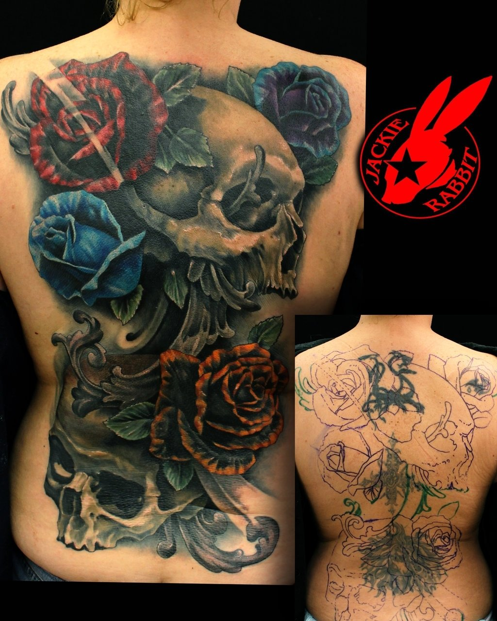 10 Cute Back Tattoo Cover Up Ideas skull roses back cover up tattoojackie rabbitjackierabbit12 2020