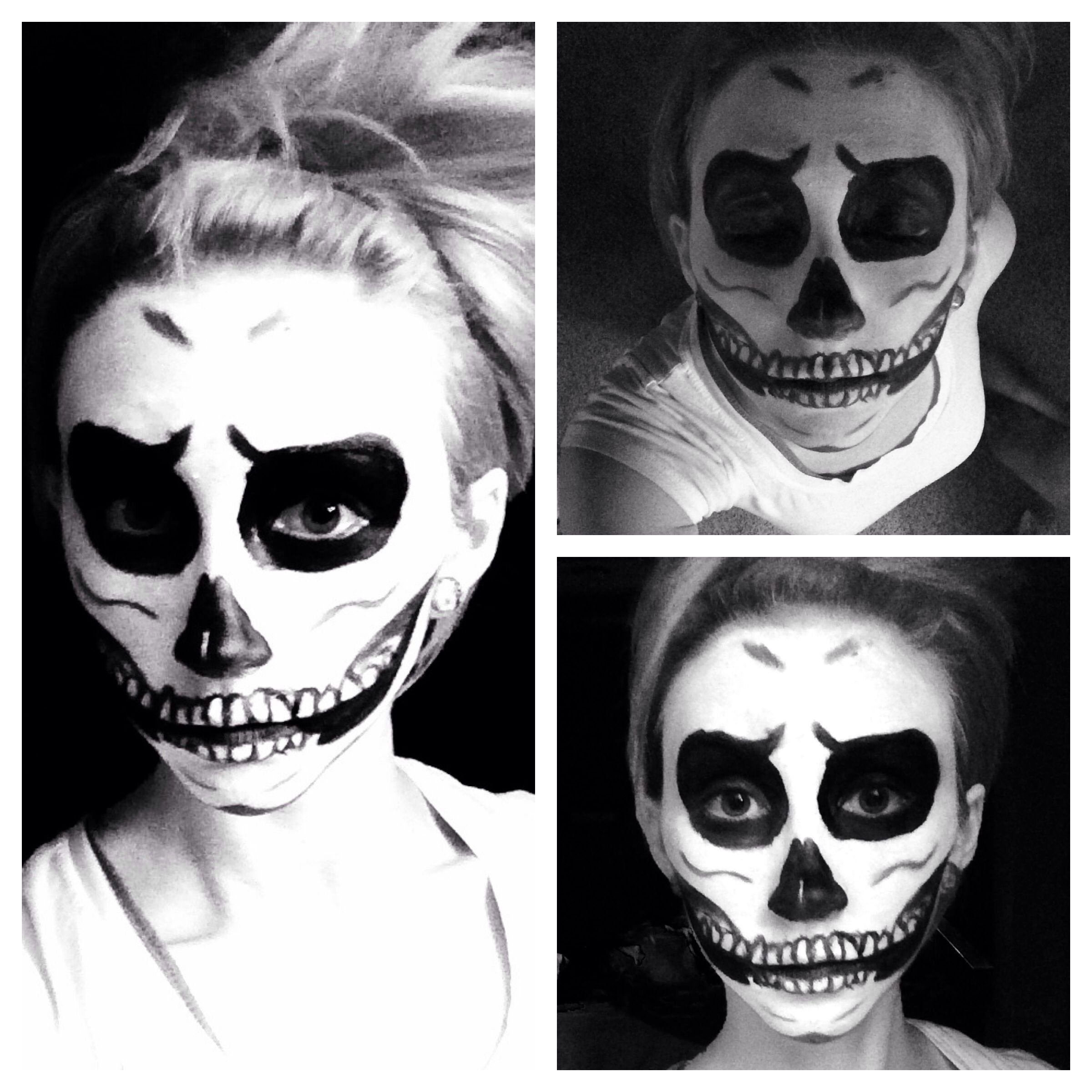 10 Wonderful Black And White Face Paint Ideas For Halloween skull skeleton makeup halloween costume cosplay idea easy black 2020