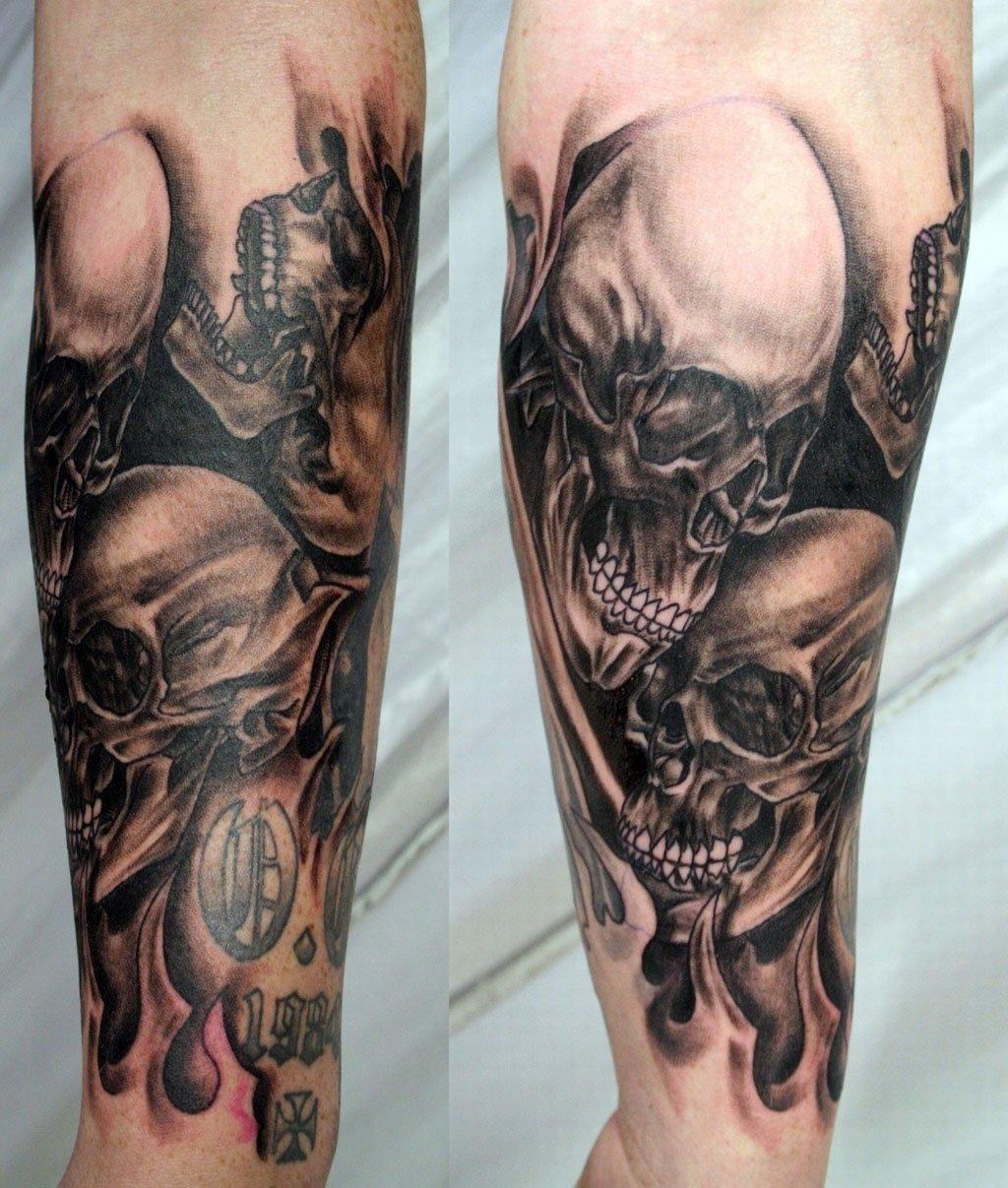 10 Spectacular Skull Tattoo Ideas For Men skull sleeve tattoo designs for men full sleeve skull tattoos cool 2021