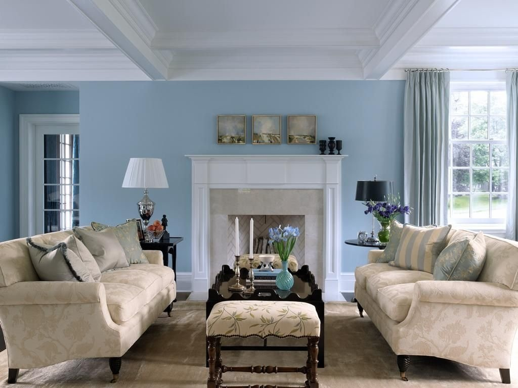 10 Most Recommended Blue Living Room Decorating Ideas sky blue and white scheme color ideas for living room decorating 2020