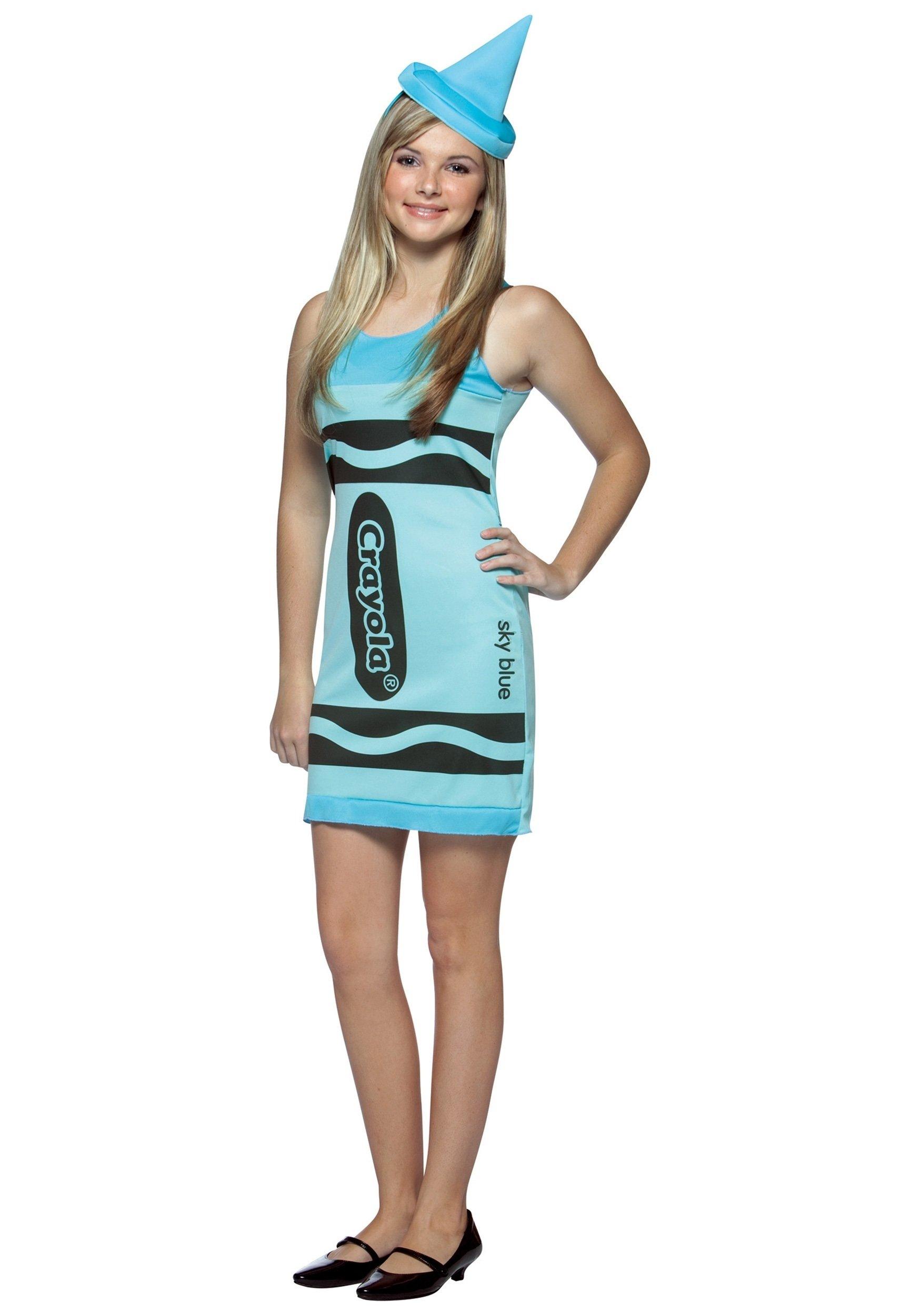 10 Pretty Halloween Costume Ideas For 13 Year Olds sky blue teen crayon dress teen girls crayola crayon costume 1
