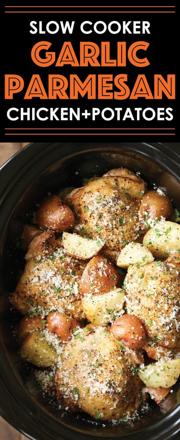 10 Fantastic Crock Pot Ideas For Chicken slow cooker garlic parmesan chicken and potatoes damn delicious 2020