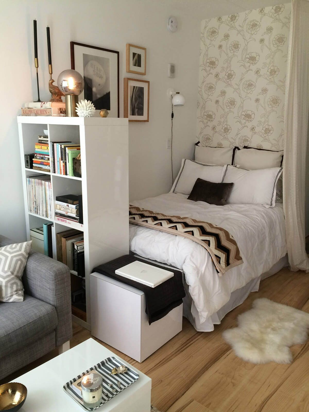 10 Spectacular Creative Ideas For Small Bedrooms small bedroom ideas with a tall bookshelf dresses n creative ideas