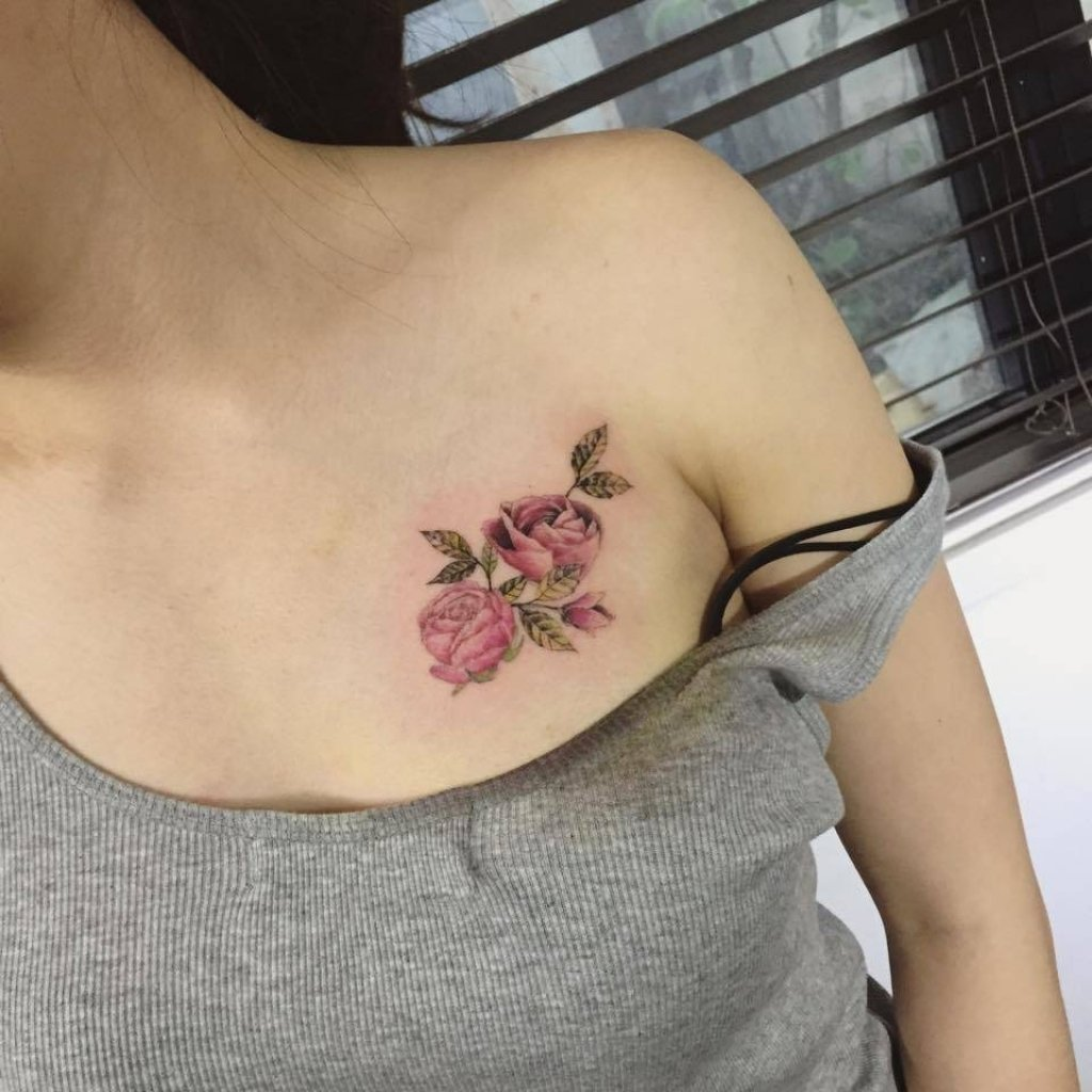 10 Famous Chest Tattoo Ideas For Women small female chest tattoos rose tattoo on the chest tattoo artist 2020