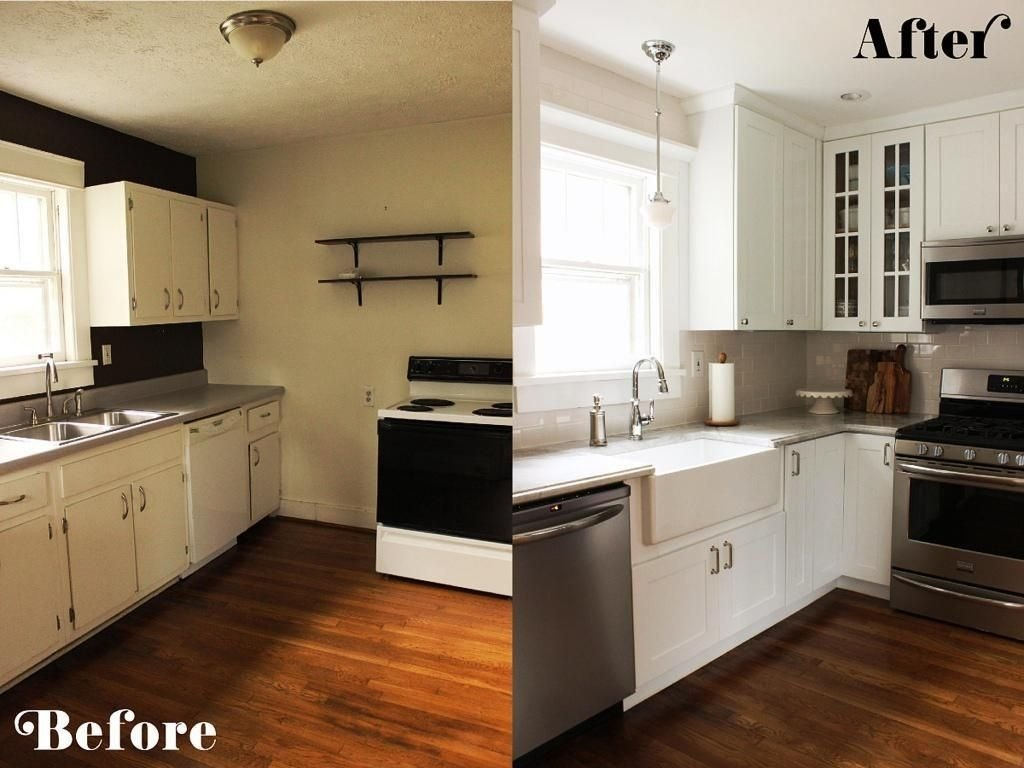 small kitchen diy ideas - before & after remodel pictures of tiny