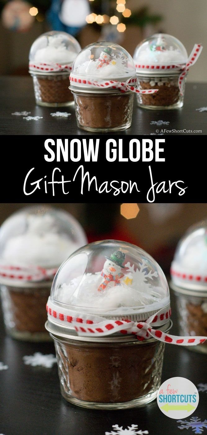 10 Best Home Made Christmas Gift Ideas snow globe mason jar toppers homemade christmas gifts super easy 2020