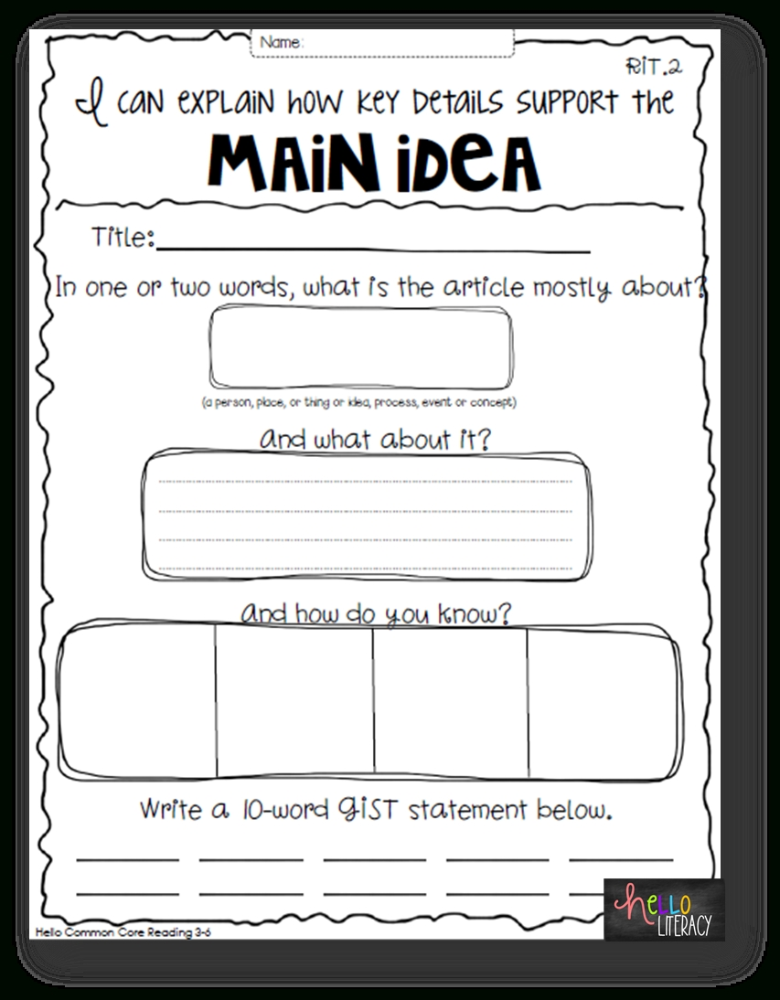 10 Stylish Main Idea Worksheets For 2Nd Grade so whats the big deal getting to the main idea helping students 4 2021