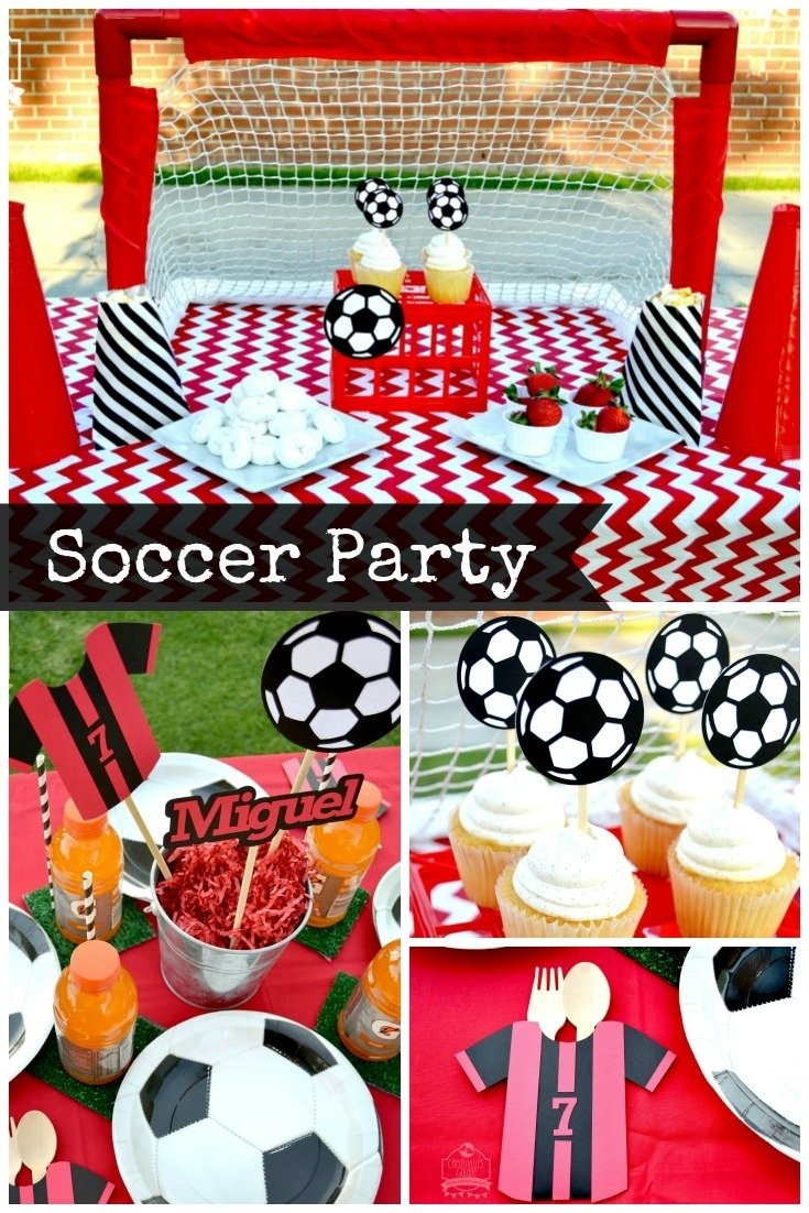 soccer party: snack table and tablescape