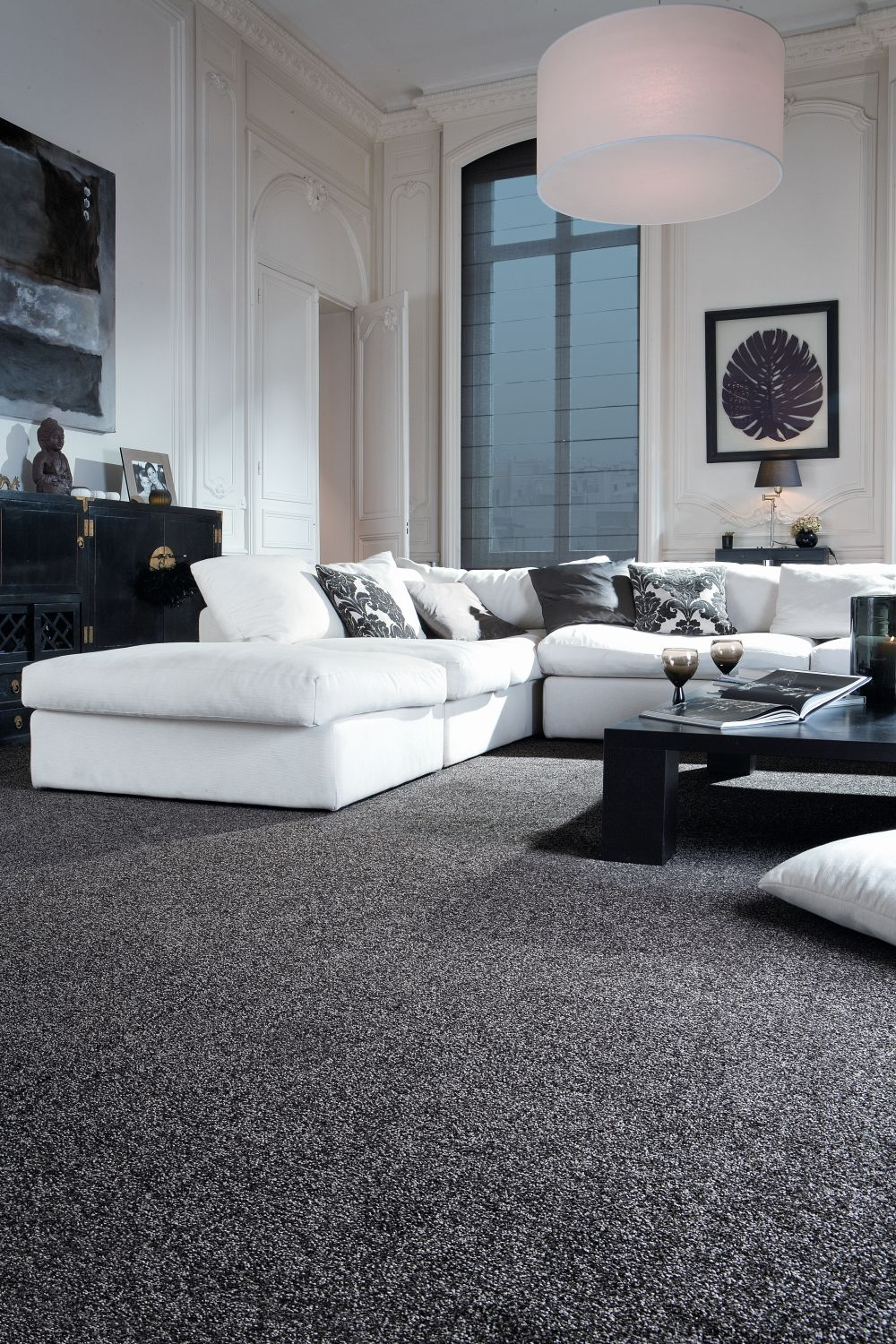 10 Nice Carpeting Ideas For Living Room sophisticated black and white living room idea monochrome trendy 2020