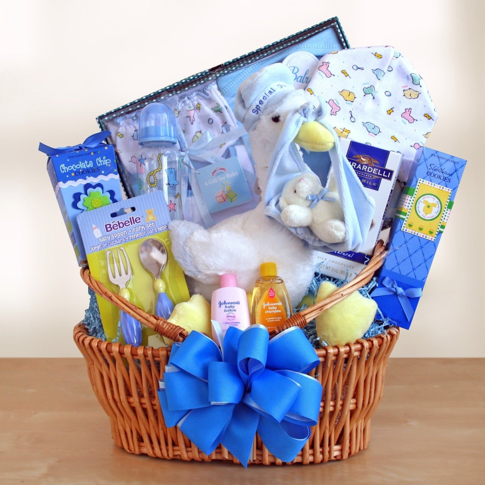 special stork delivery baby boy gift basket | baby shower gift