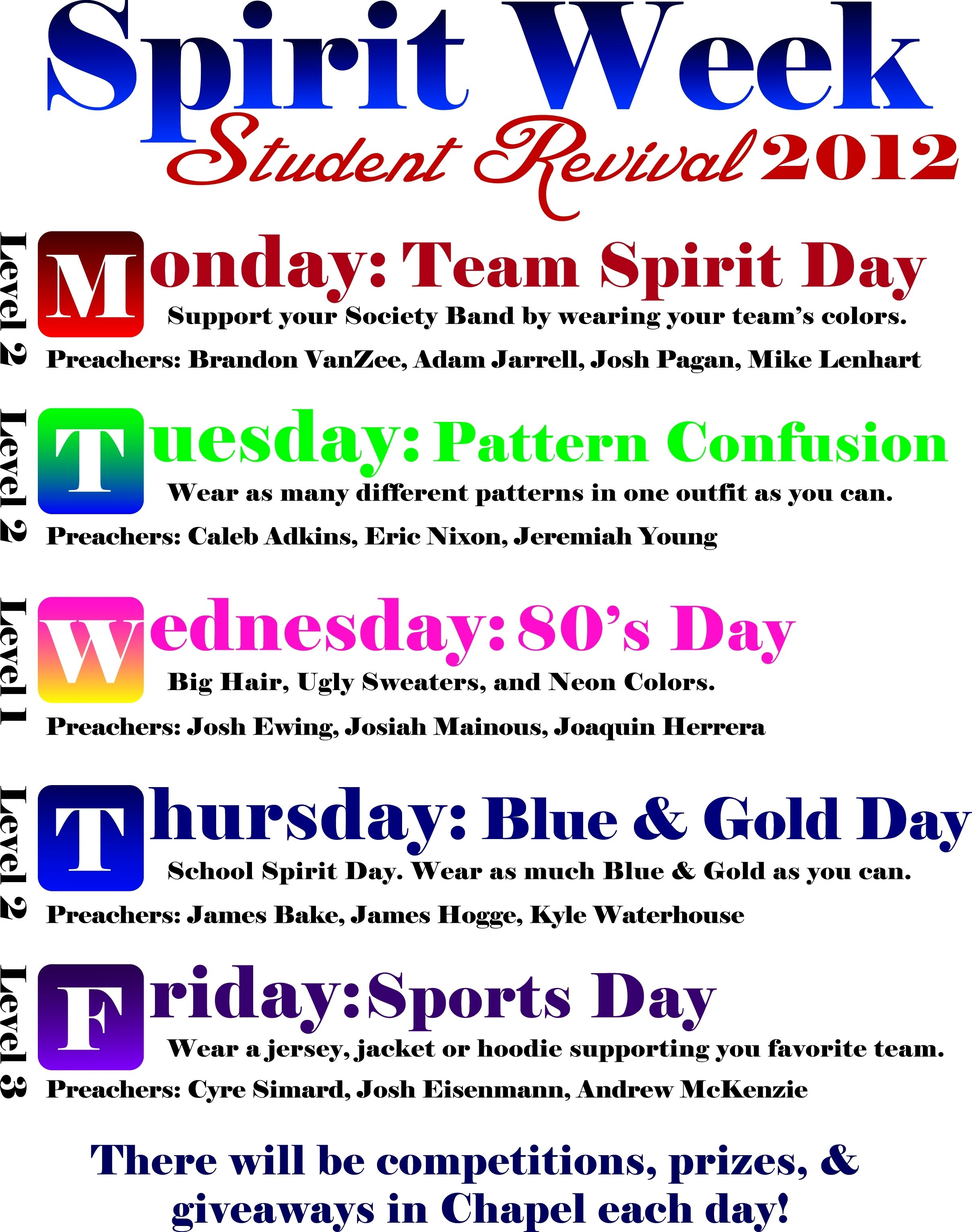 10 Unique High School Spirit Week Ideas spiritweek on feedyeti 1 2021