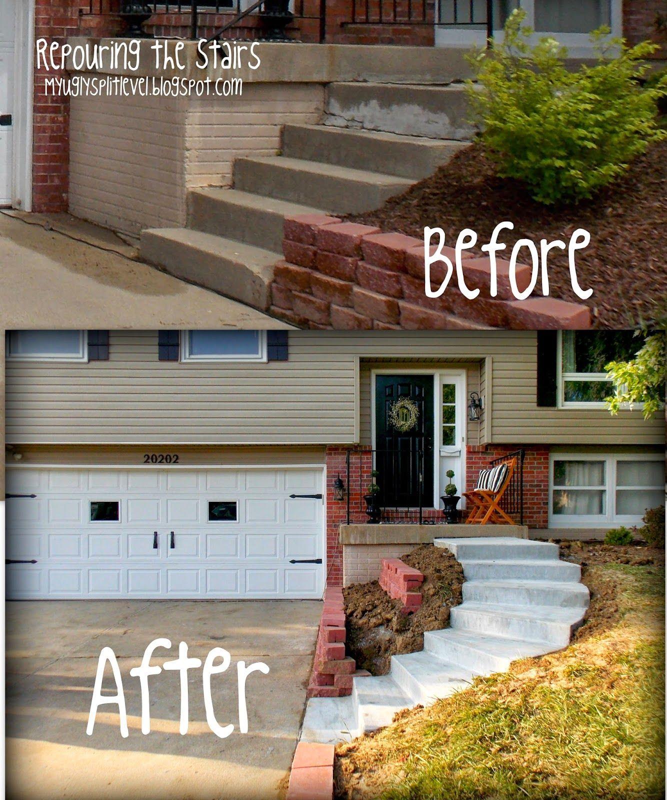 10 Awesome Landscaping Ideas For Split Level Homes split level front steps remodel my ugly split level angie front 2020
