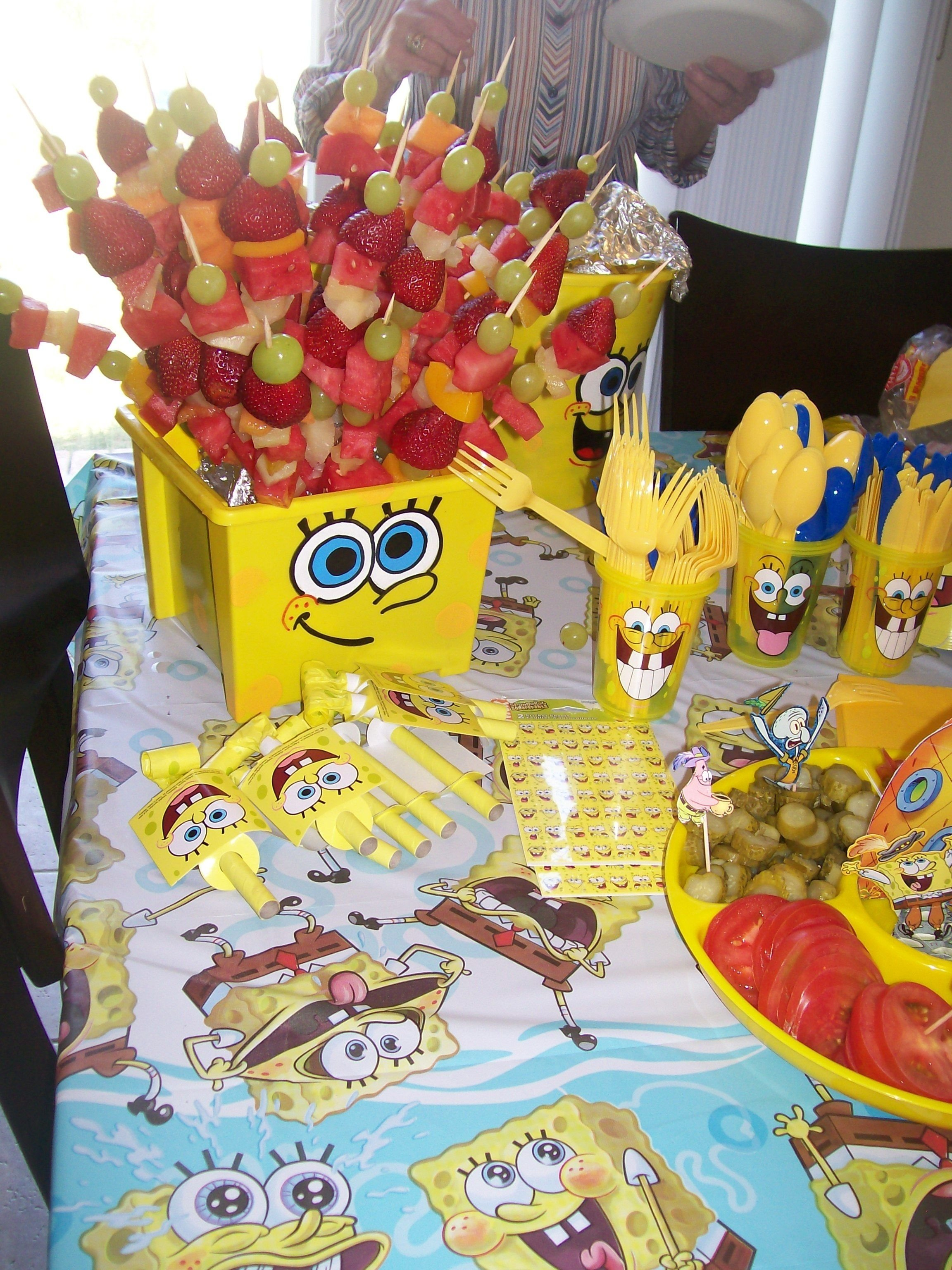 10 Trendy Spongebob Birthday Party Food Ideas sponge bob buckets and party decorations other buckes can be filled 2020