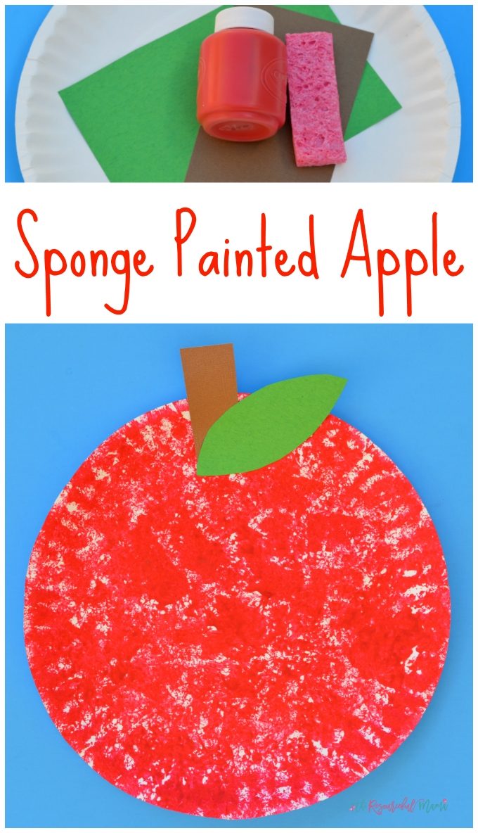 sponge painted apple craft for kids | sponge painting, johnny