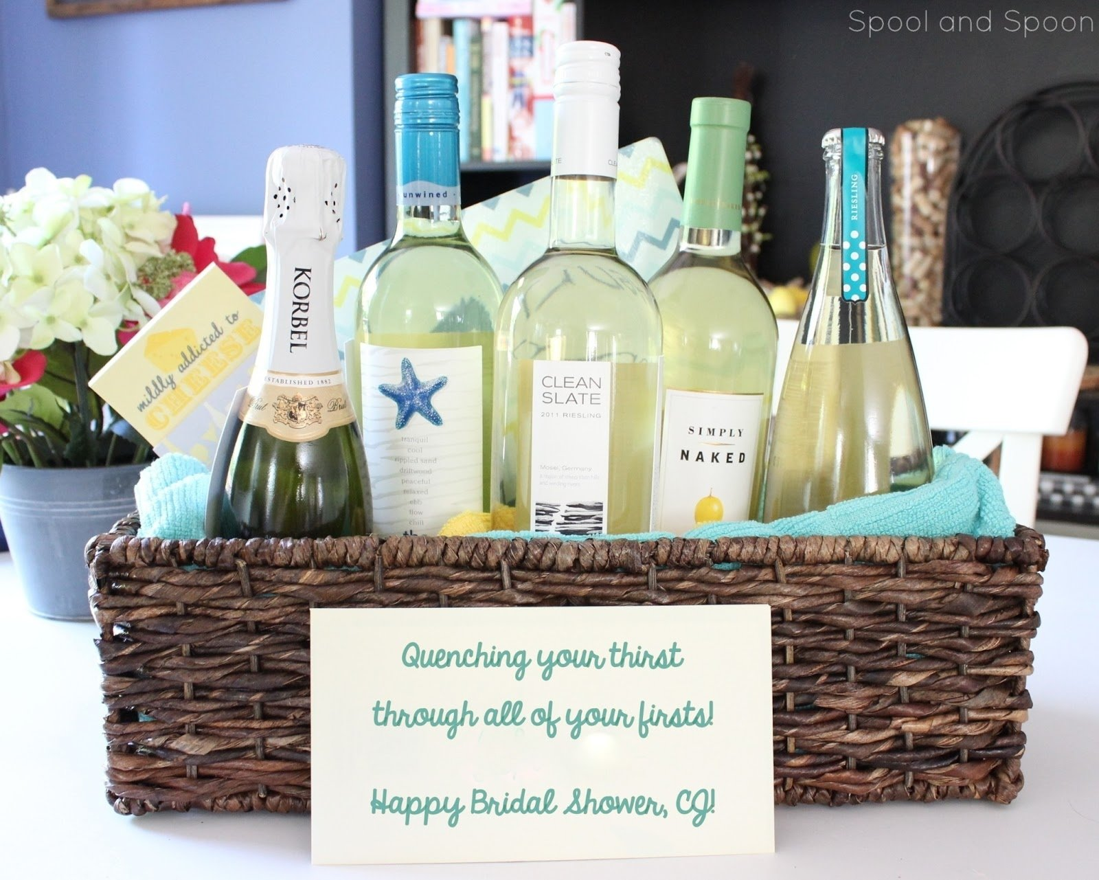 10 Awesome Wedding Shower Gift Basket Ideas spool and spoon all of your firsts wine gift basket with tags 2 2020