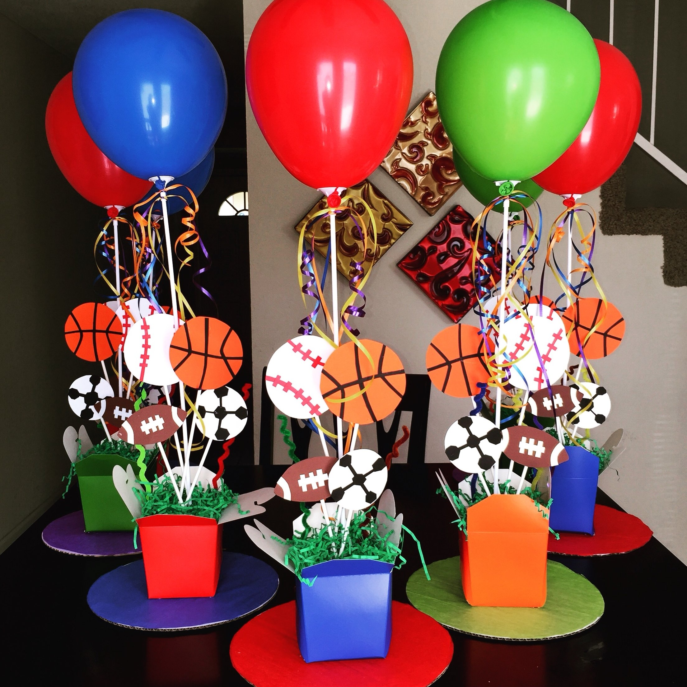 sports theme centerpieces ! diy! 1st birthday! | diy birthday party