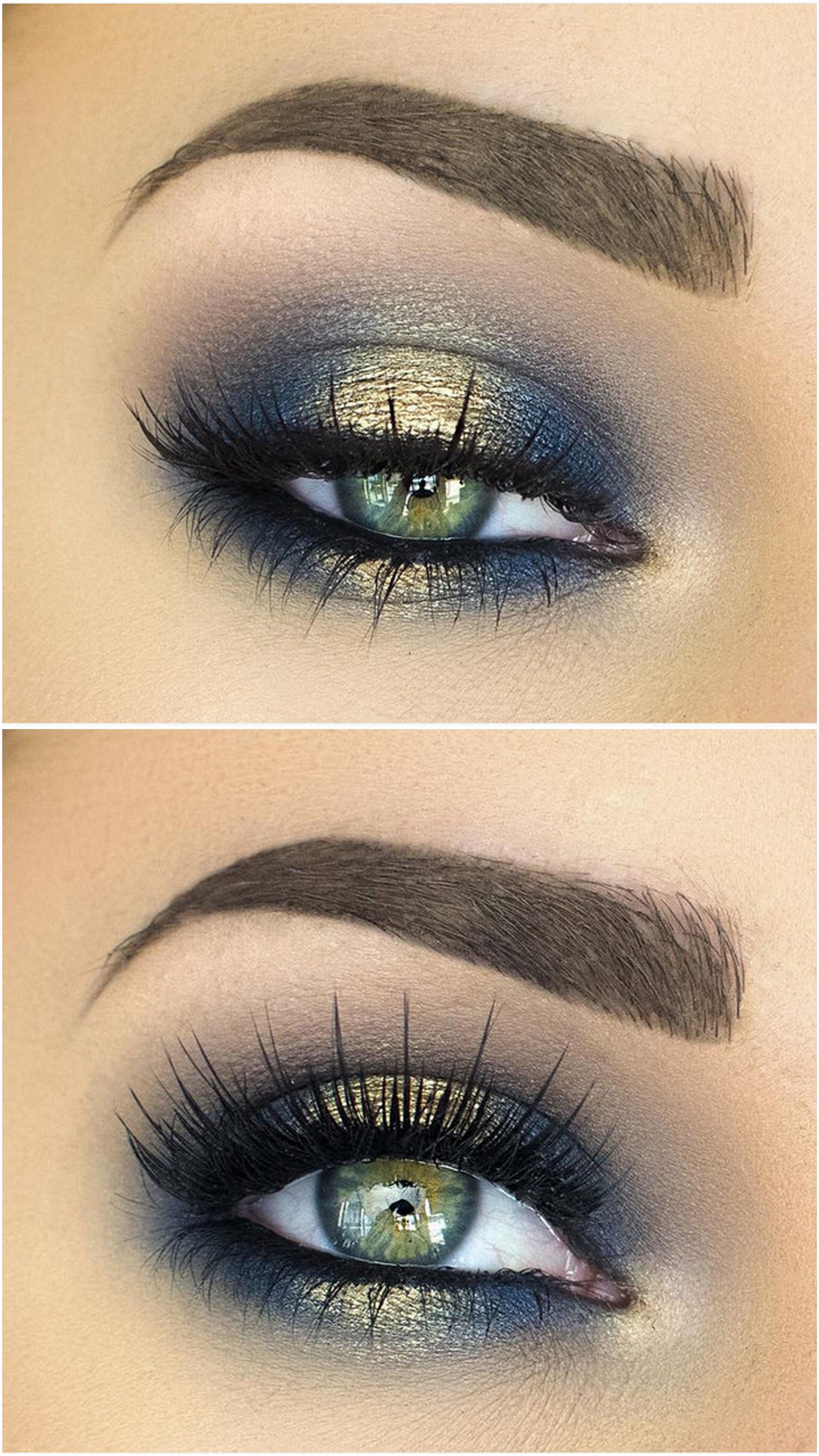 10 Nice Eyeshadow Ideas For Green Eyes spotlight halo smokey eye in navy blue gold makeup