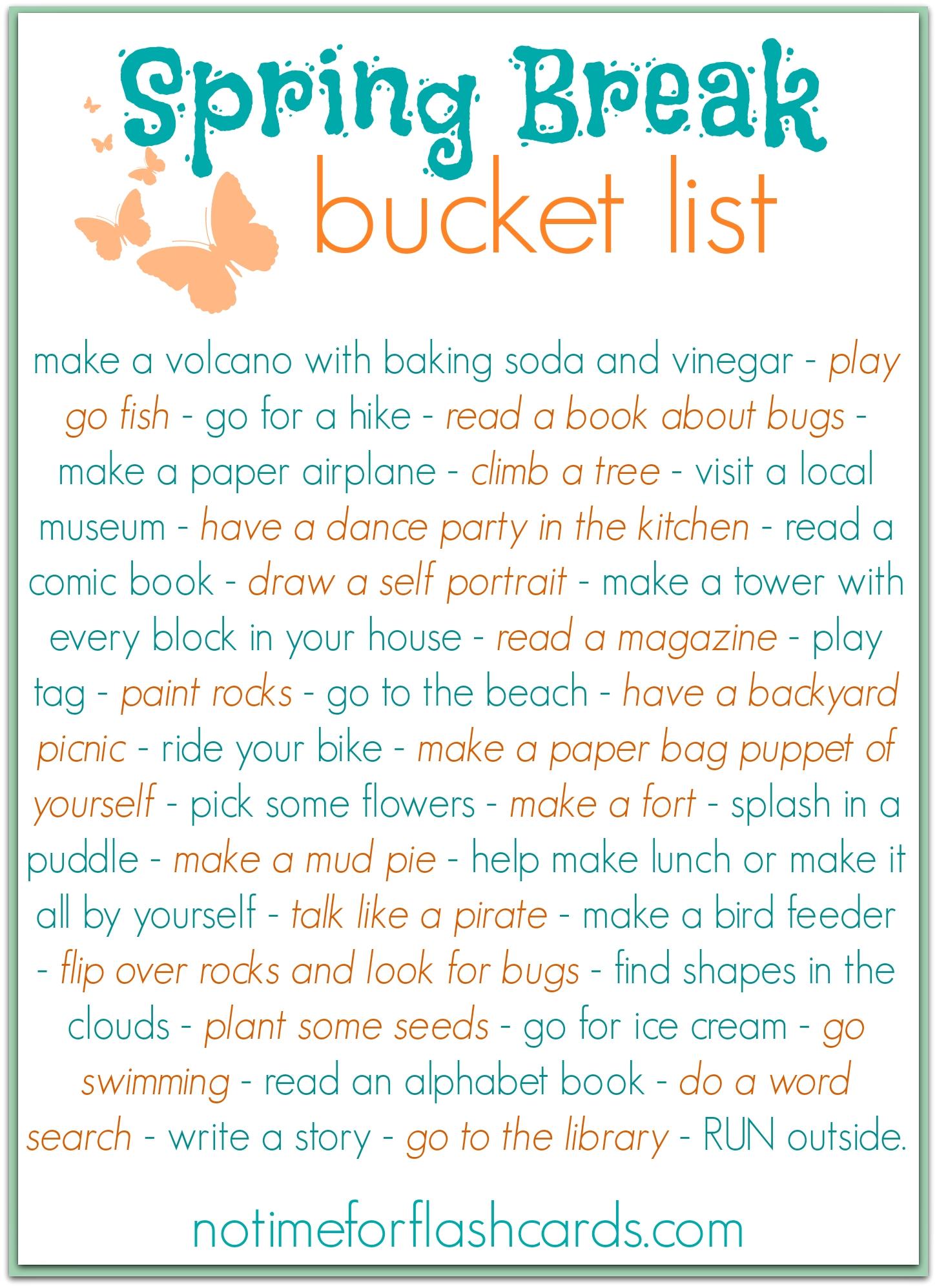 10 Attractive Spring Break Ideas For Kids spring break bucket list free printable free printable buckets 2021