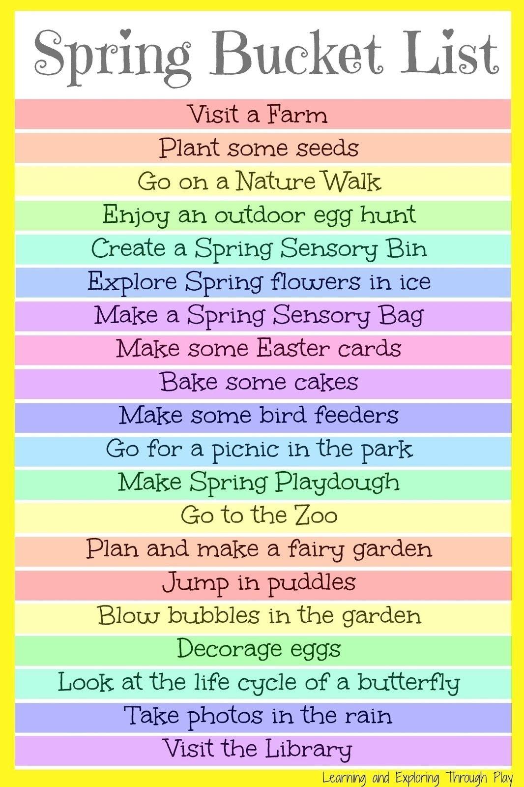 10 Attractive Spring Break Ideas For Kids spring bucket list for kids and families spring bucket lists fun 1 2021