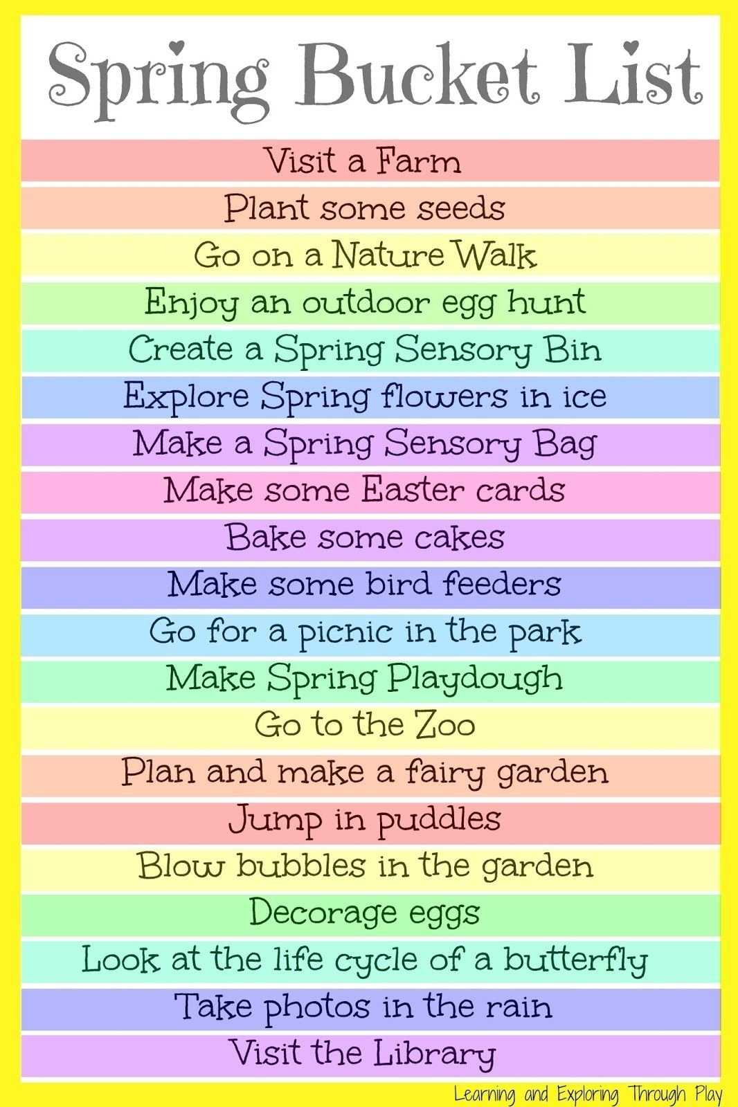spring bucket list for kids and families | spring bucket lists, fun