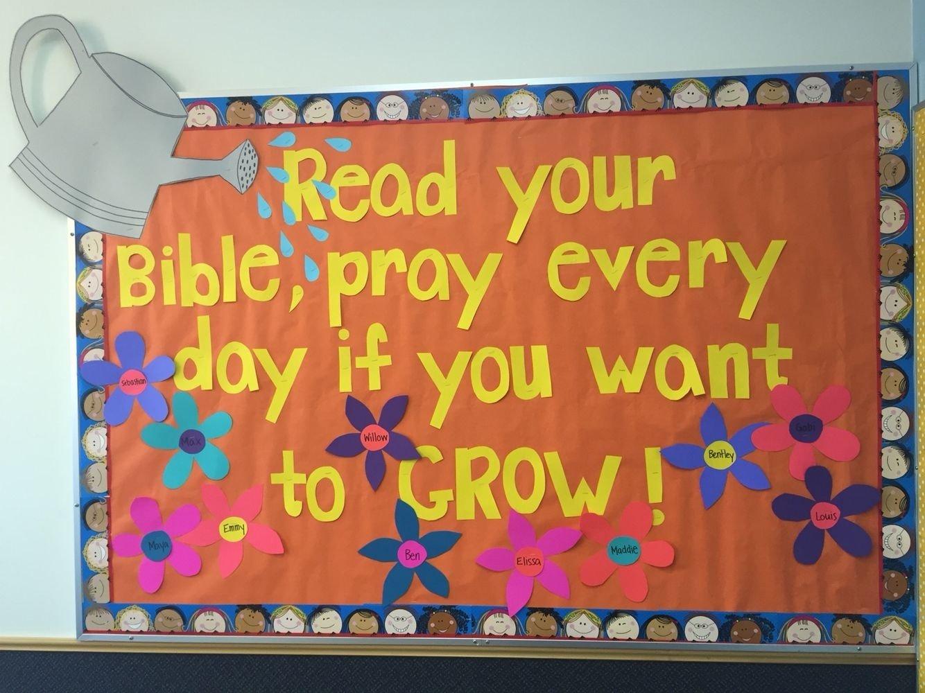 10 Ideal Sunday School Bulletin Board Ideas spring bulletin board for sunday school classroom read your bible 2021