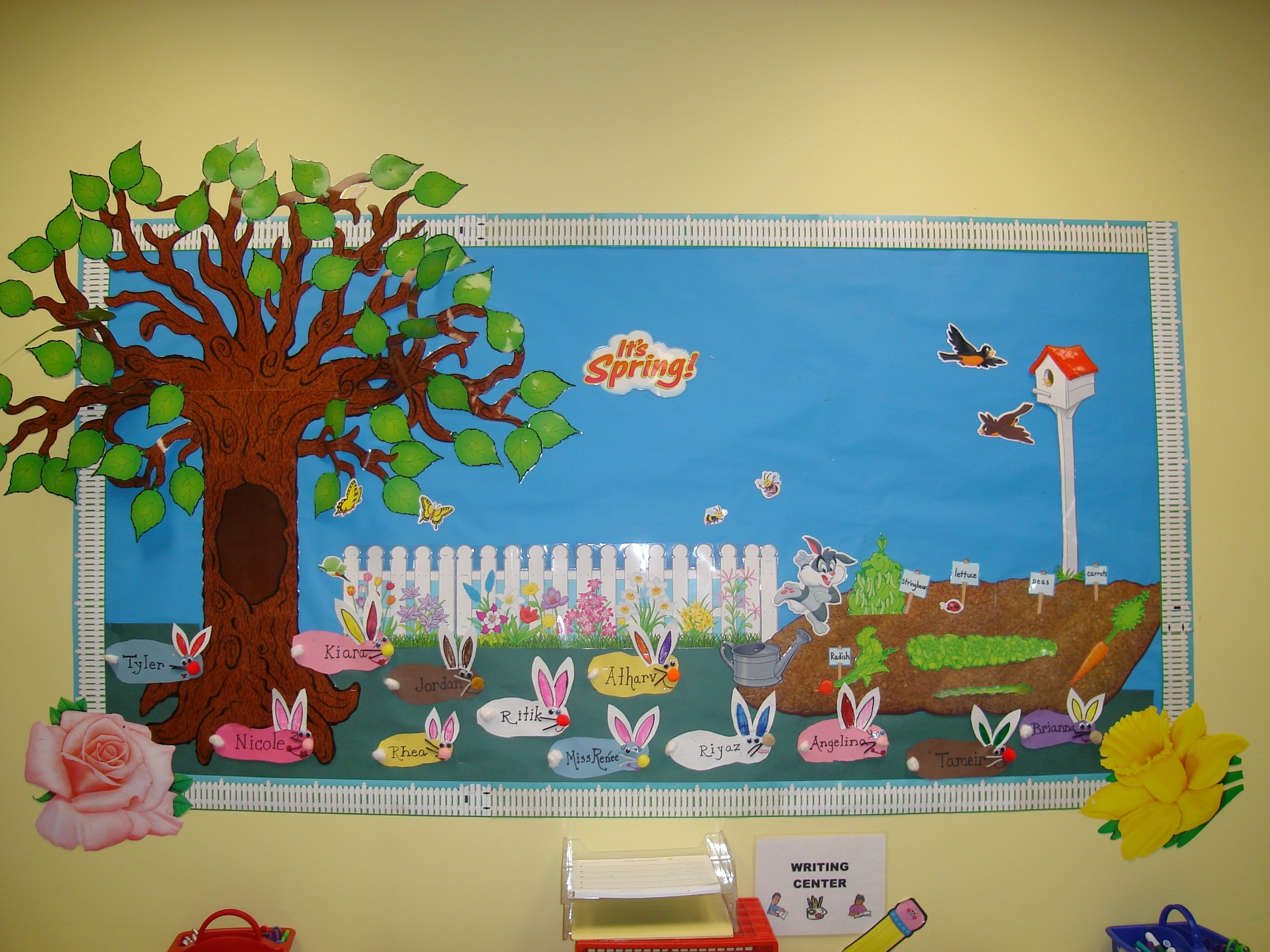 10 Most Popular Bulletin Board Ideas For Spring spring bulletin board with bunnies myclassroomideas 1
