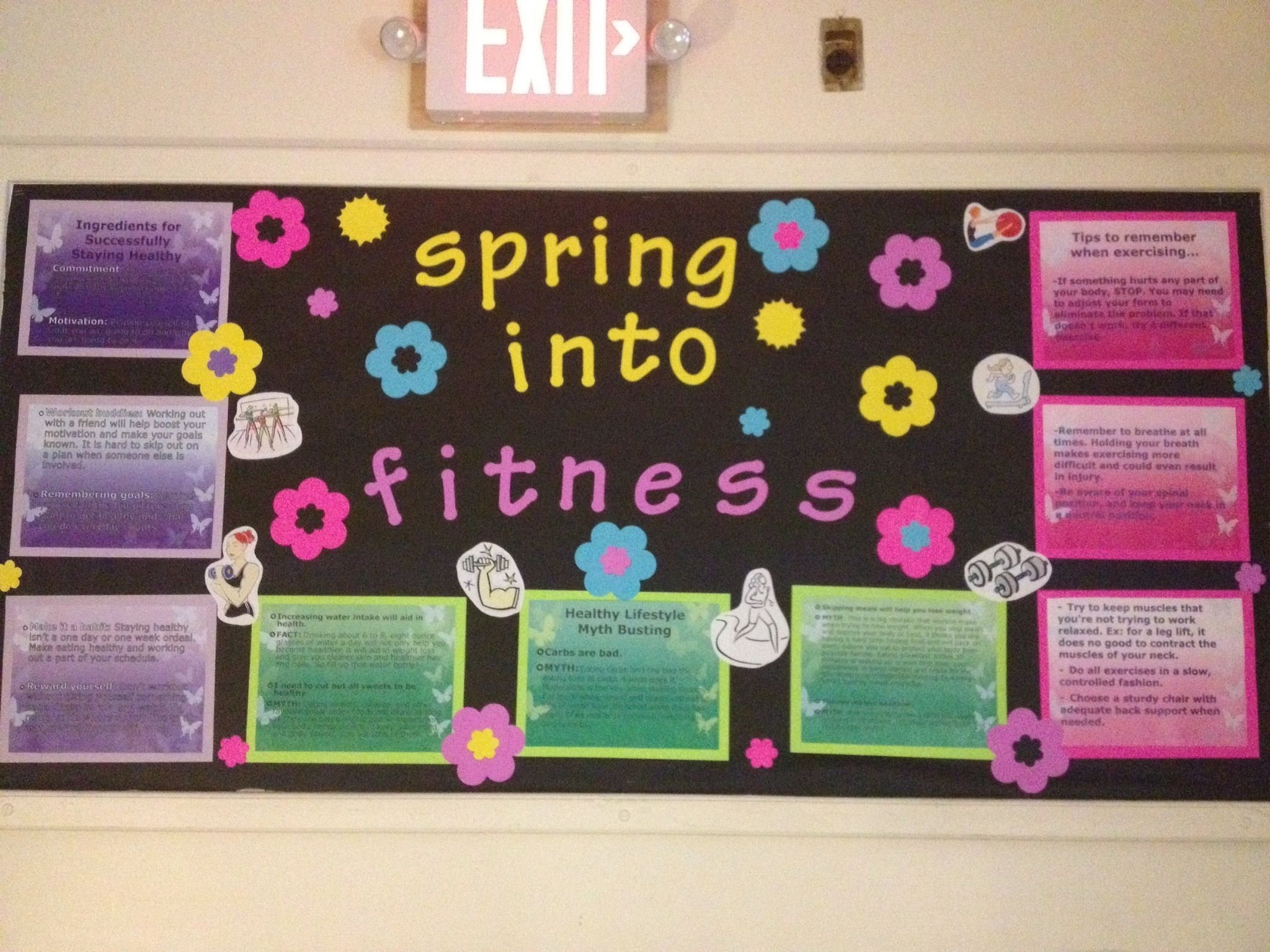 10 Perfect Bulletin Board Ideas For Workplace spring into fitness bulletin board ra adventures pinterest 2020