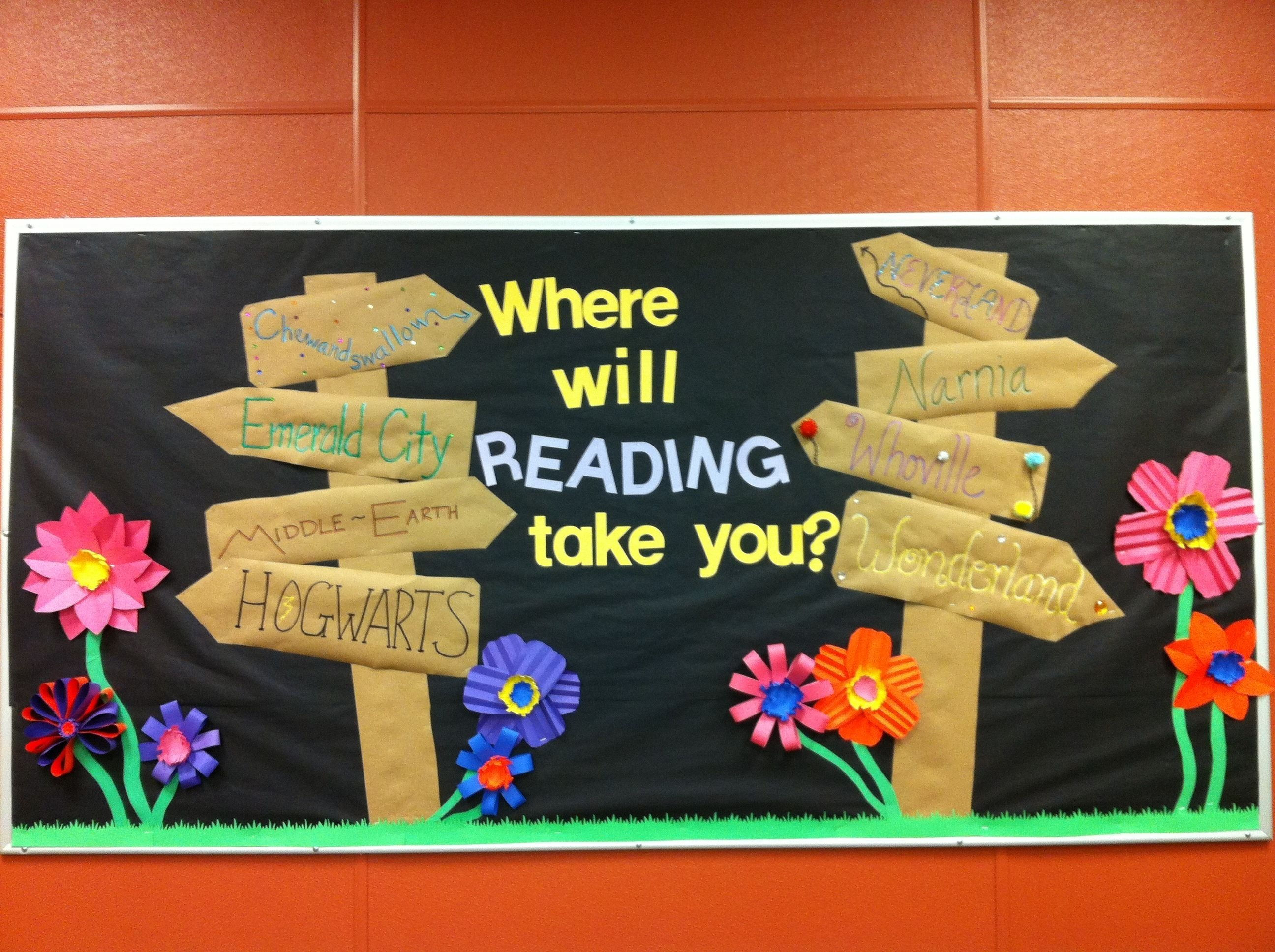 spring library bulletin board. inspiredvarious other pinners