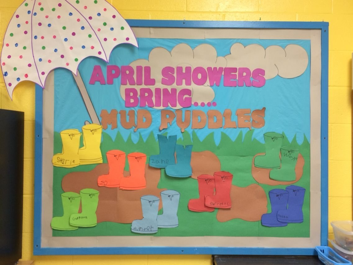 10 Attractive April Showers Bulletin Board Ideas spring preschool bulletin board april showers bring mud puddles 2020