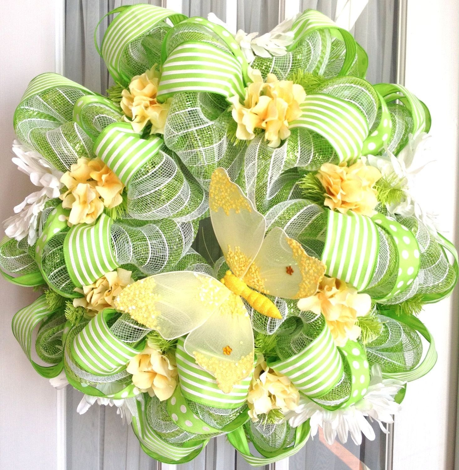 10 Fabulous Spring Deco Mesh Wreath Ideas spring summer mesh wreath lime green white stripes wreaths limes 2020